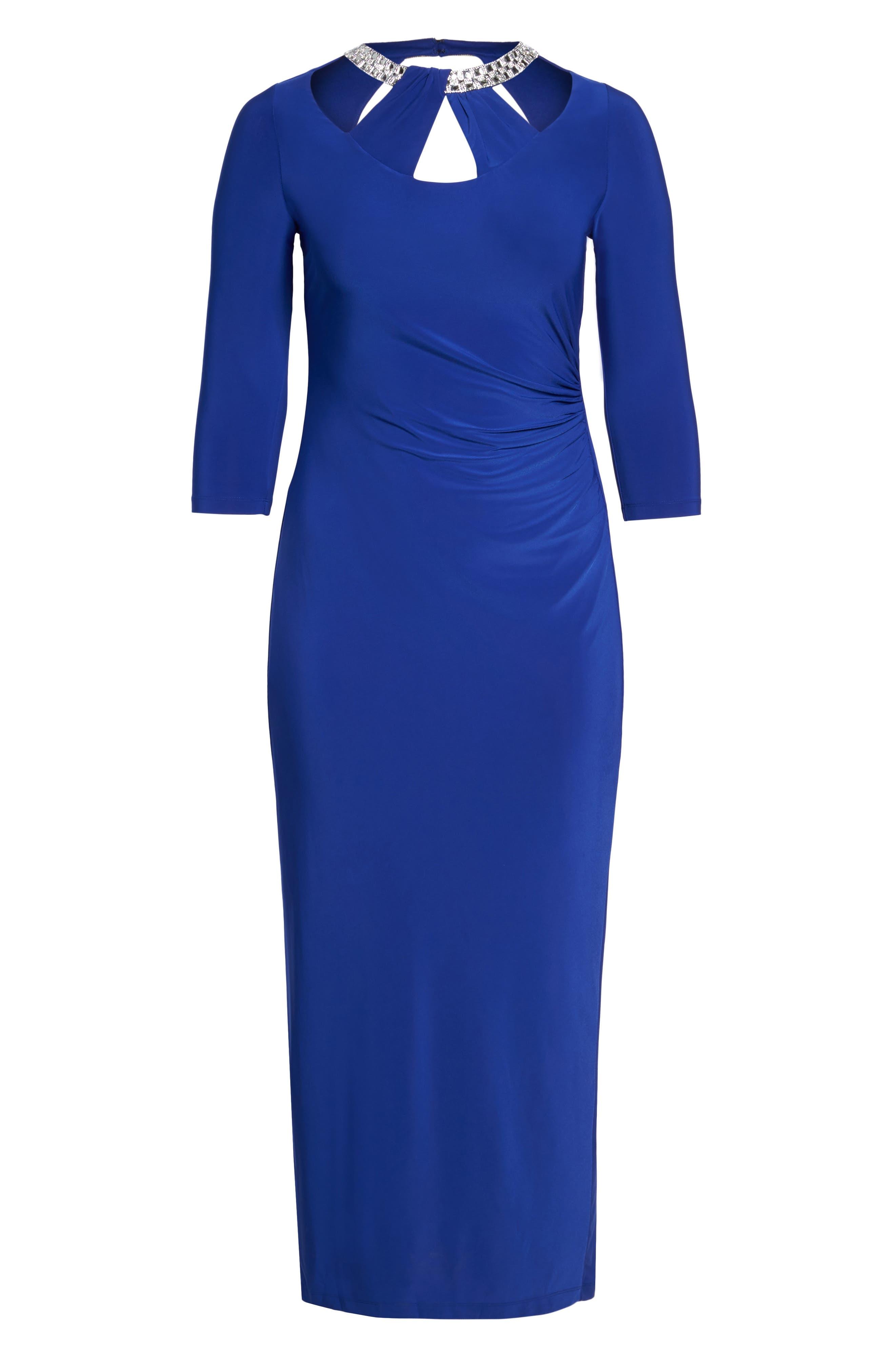 Embellished Neck Matte Jersey Gown,                             Alternate thumbnail 12, color,