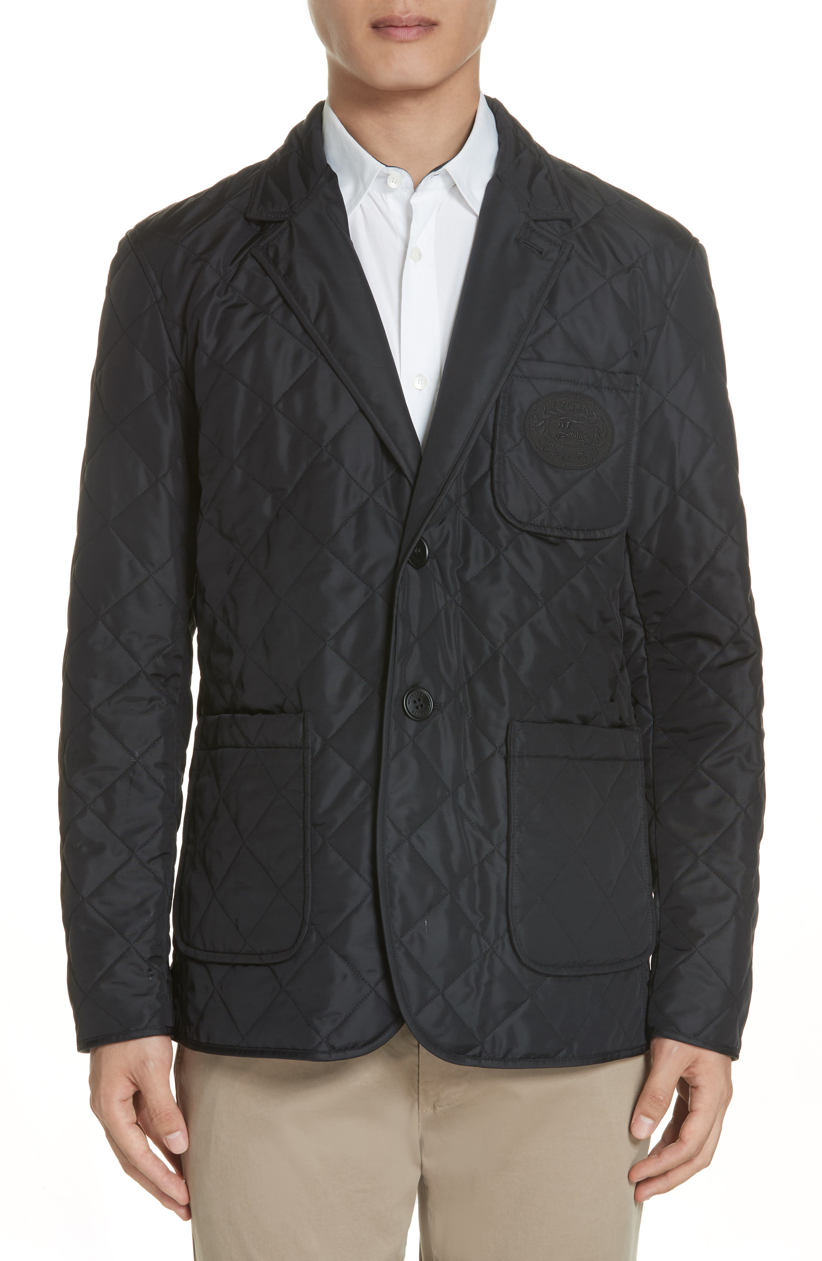 Clifton Quilted Blazer,                             Main thumbnail 1, color,                             BLACK