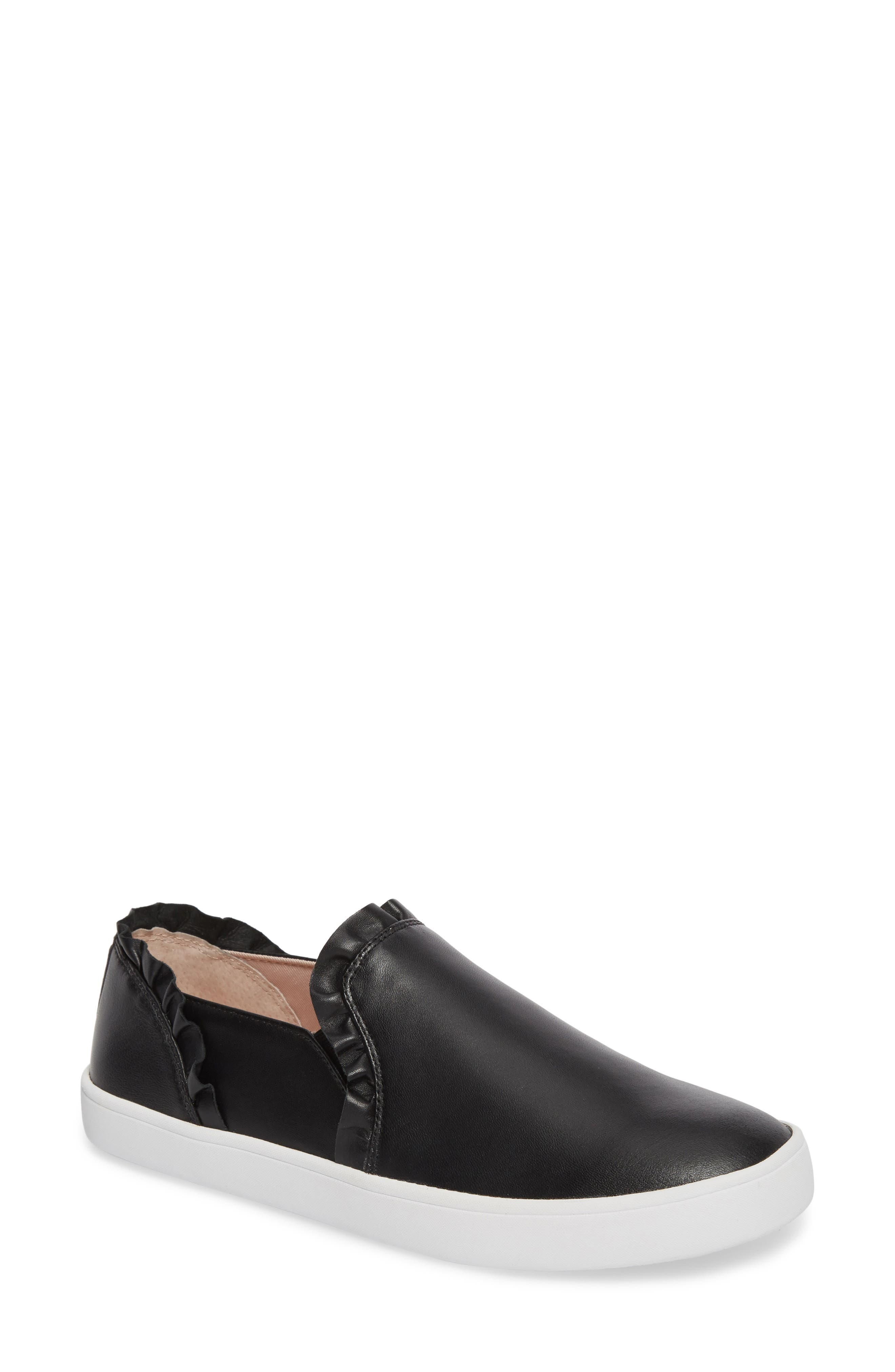 lilly ruffle slip-on sneaker,                         Main,                         color, BLACK NAPPA