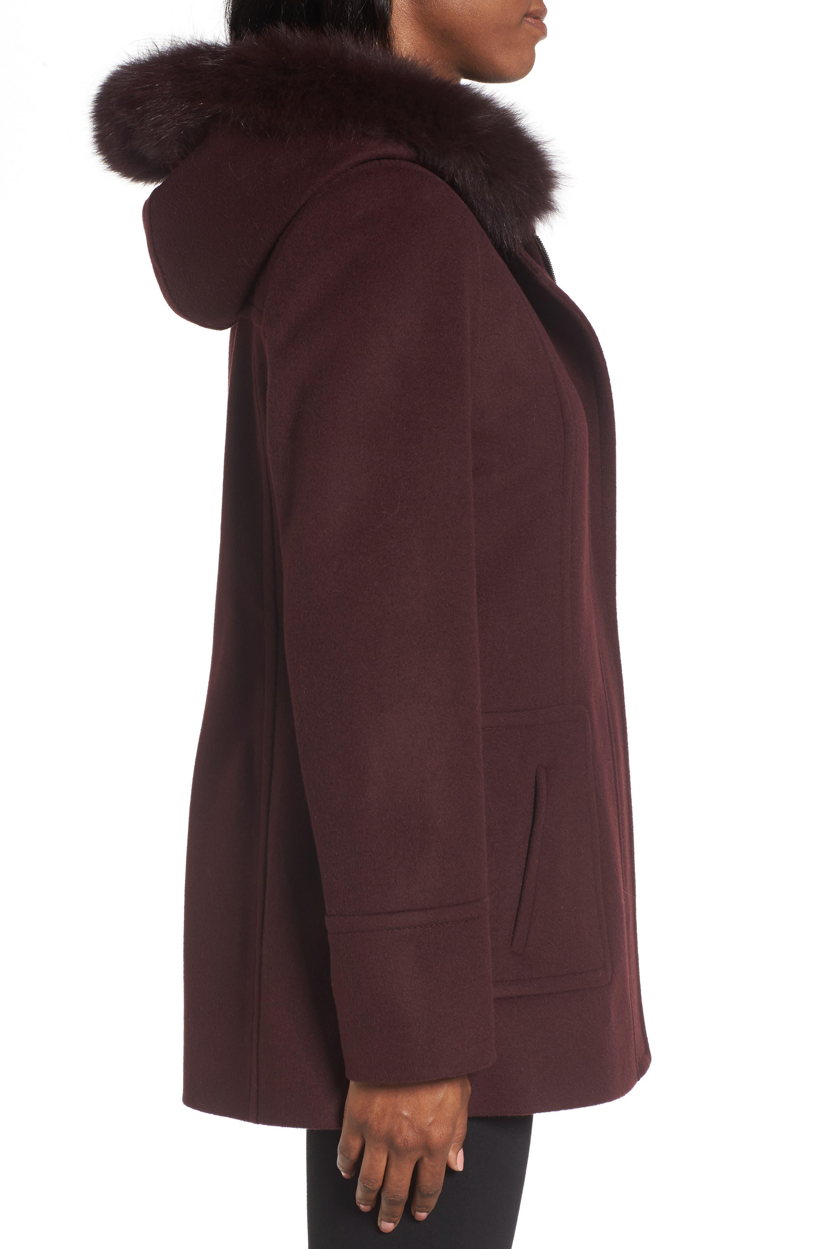 Hooded Wool Blend Coat with Genuine Fox Fur Trim,                             Alternate thumbnail 9, color,