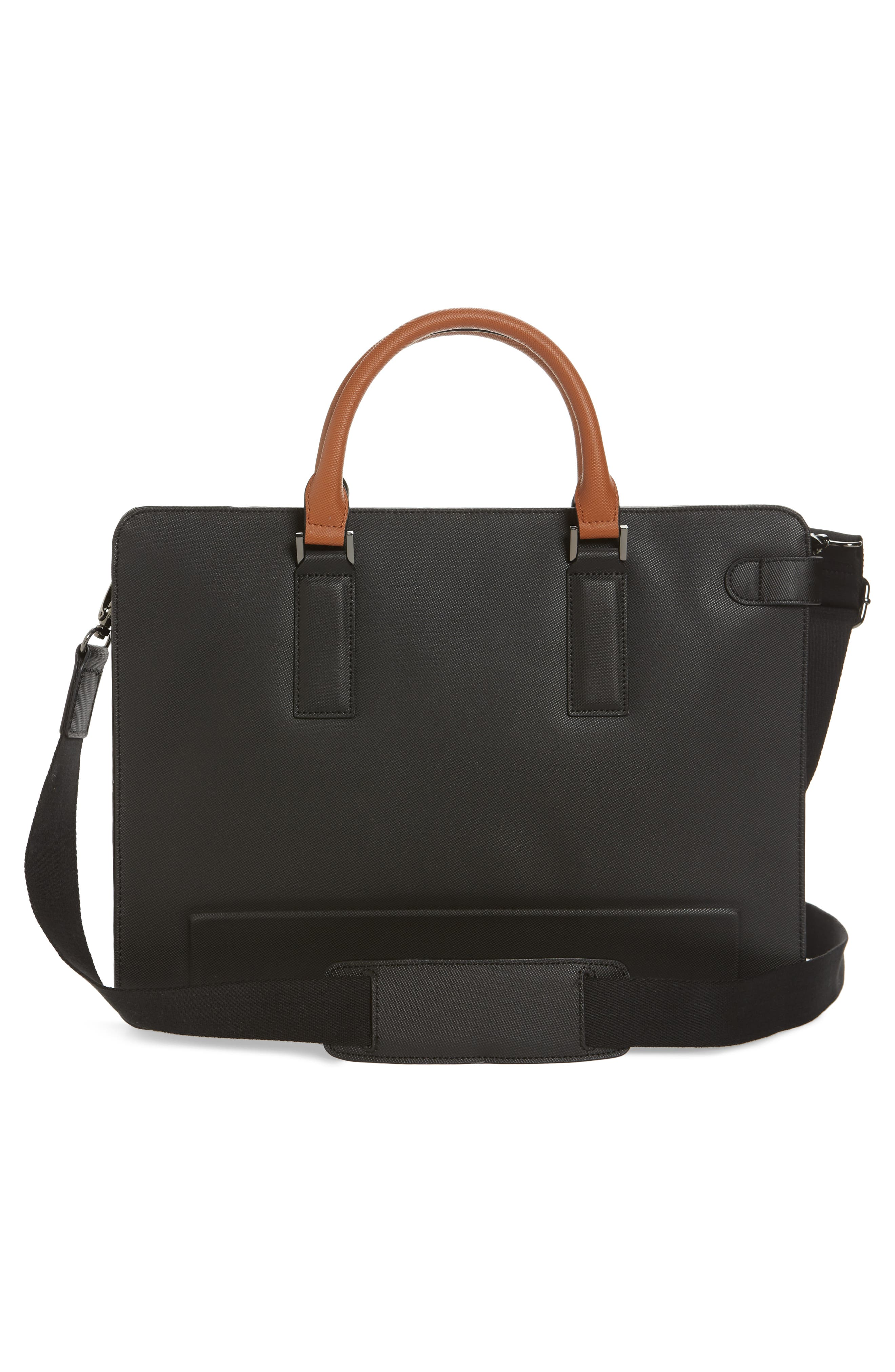 TED BAKER LONDON,                             Stark Leather Briefcase,                             Alternate thumbnail 3, color,                             BLACK