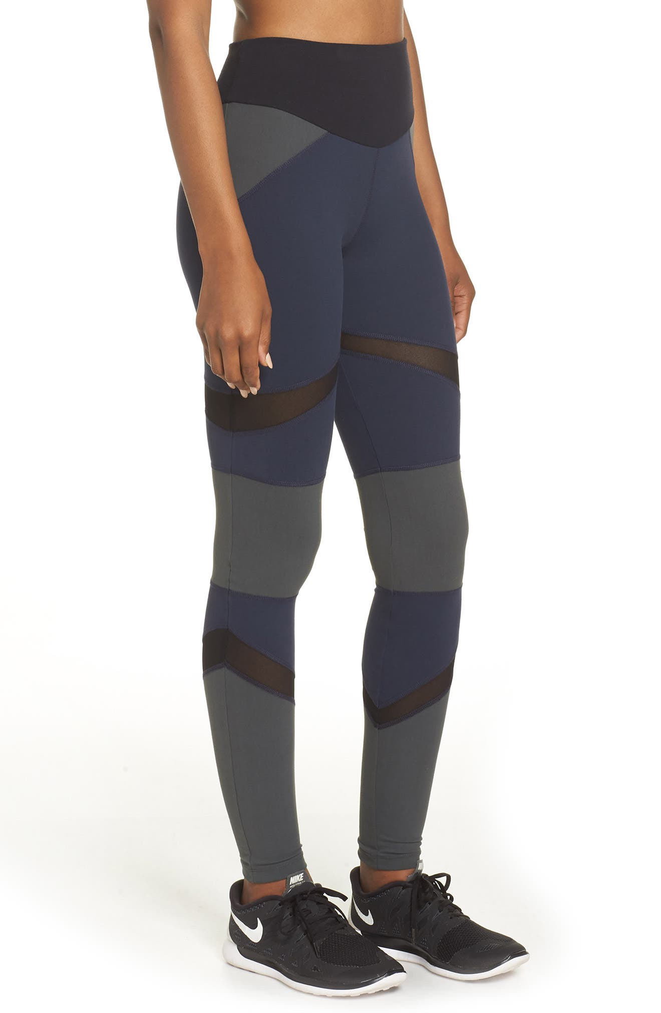 BoomBoom Athletica Brushed Tricolor Panel Leggings,                             Alternate thumbnail 3, color,                             NAVY/ BLACK/ GREEN