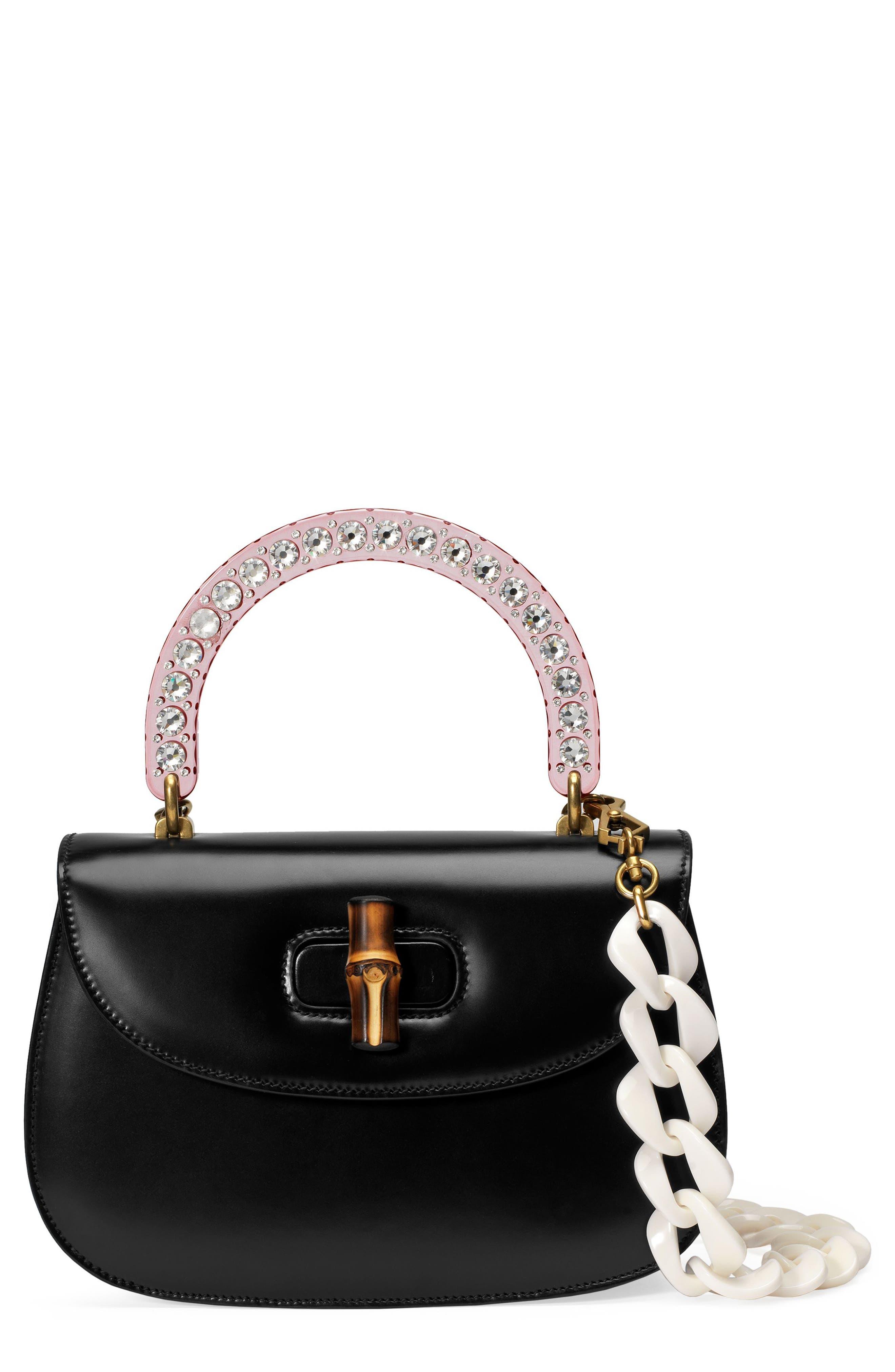 Medium Classic 2 Top Handle Shoulder Bag,                             Main thumbnail 1, color,                             NERO/ ROSE CRYSTAL