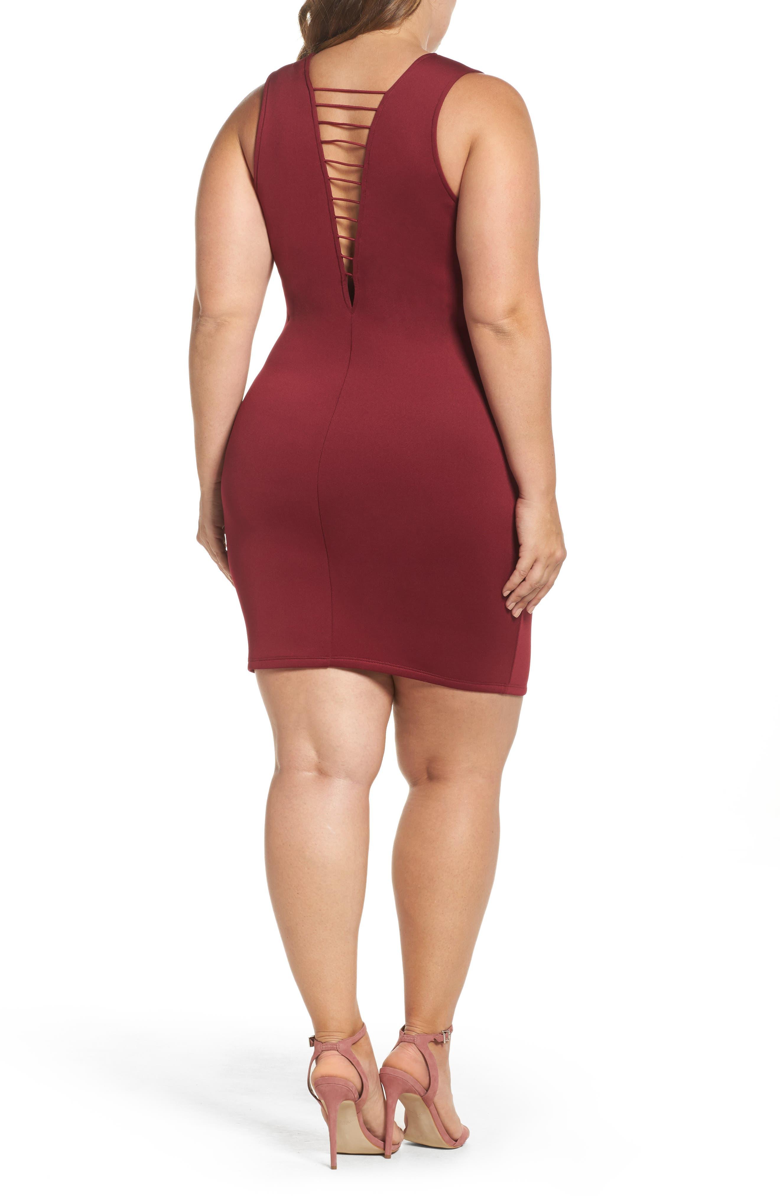Strappy Double V Body-Con Dress,                             Alternate thumbnail 2, color,                             200