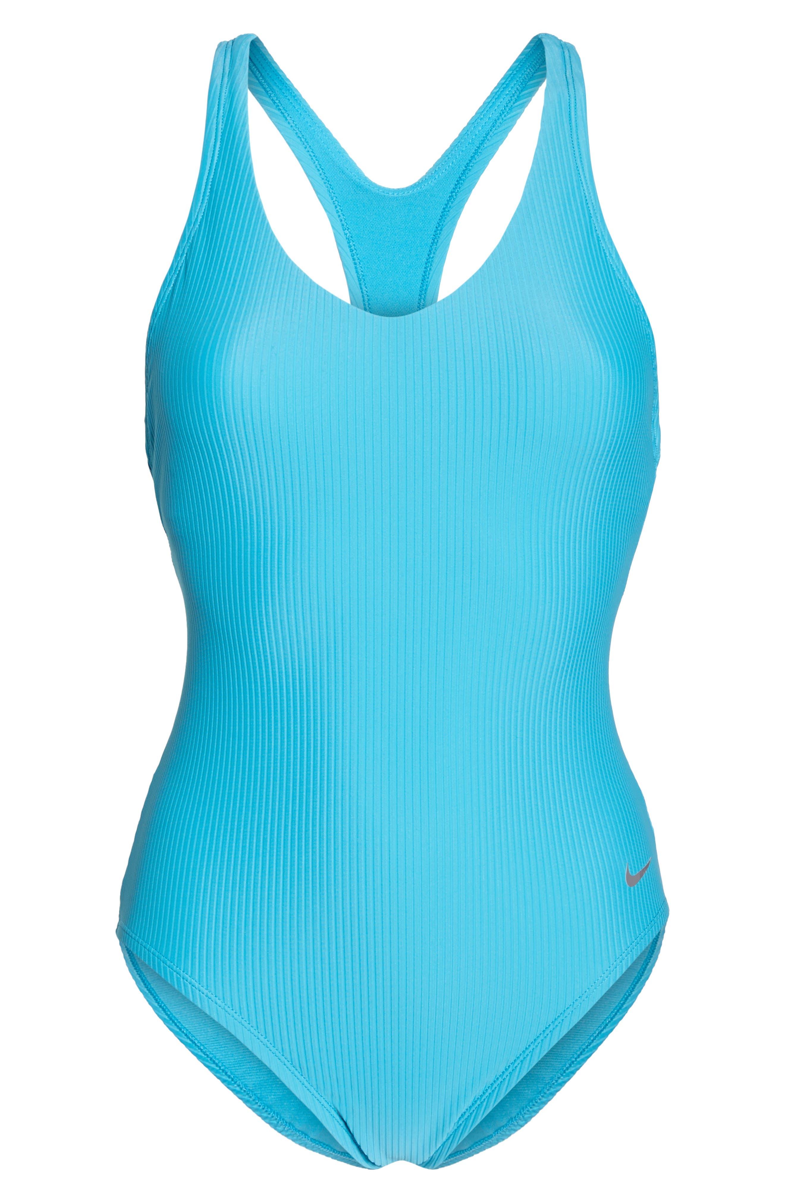 Swim Ribbed One-Piece Swimsuit,                             Alternate thumbnail 6, color,                             LIGHT BLUE FURY
