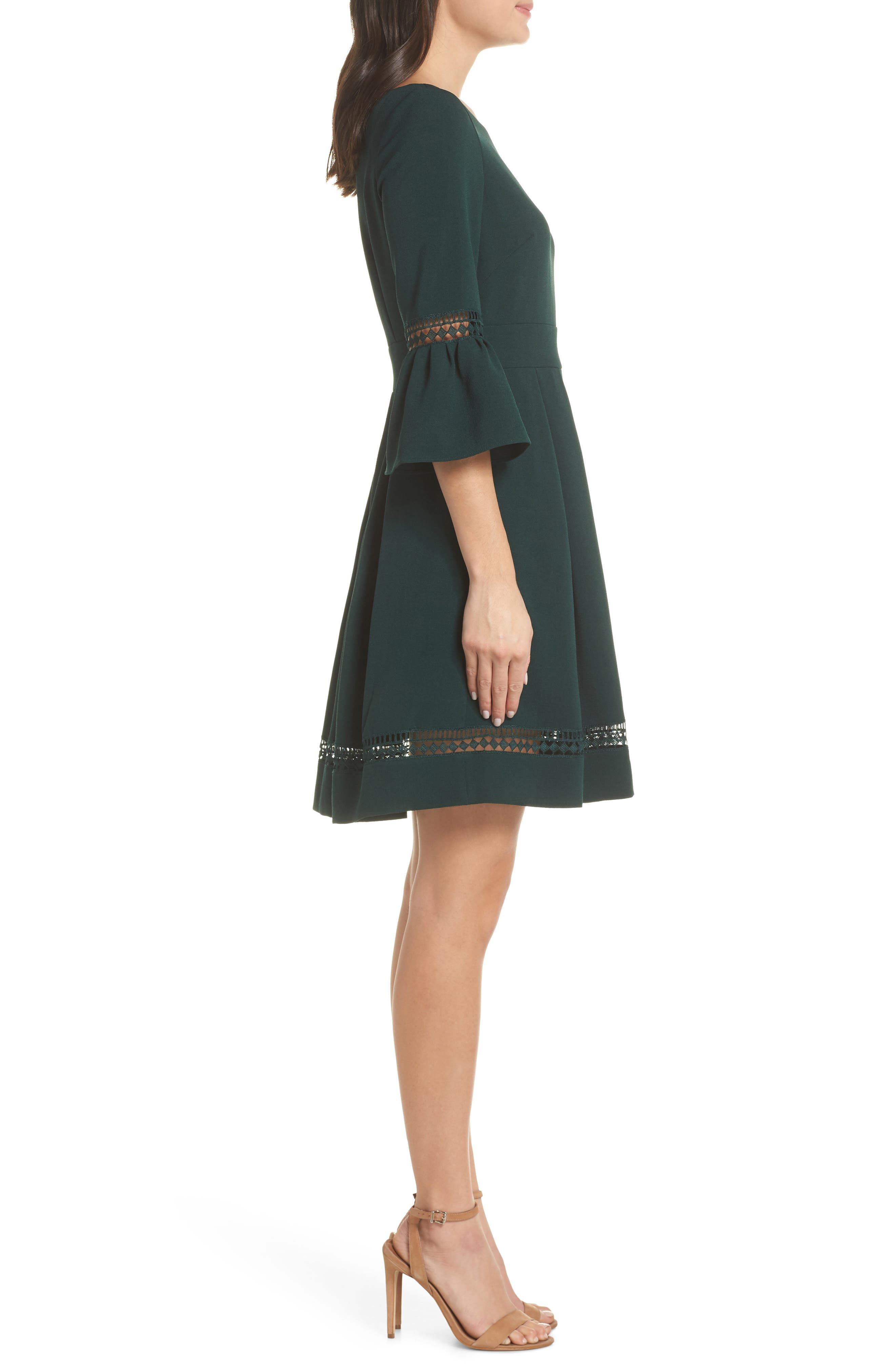 ELIZA J, Bell Sleeve Fit & Flare Dress, Alternate thumbnail 4, color, PINE