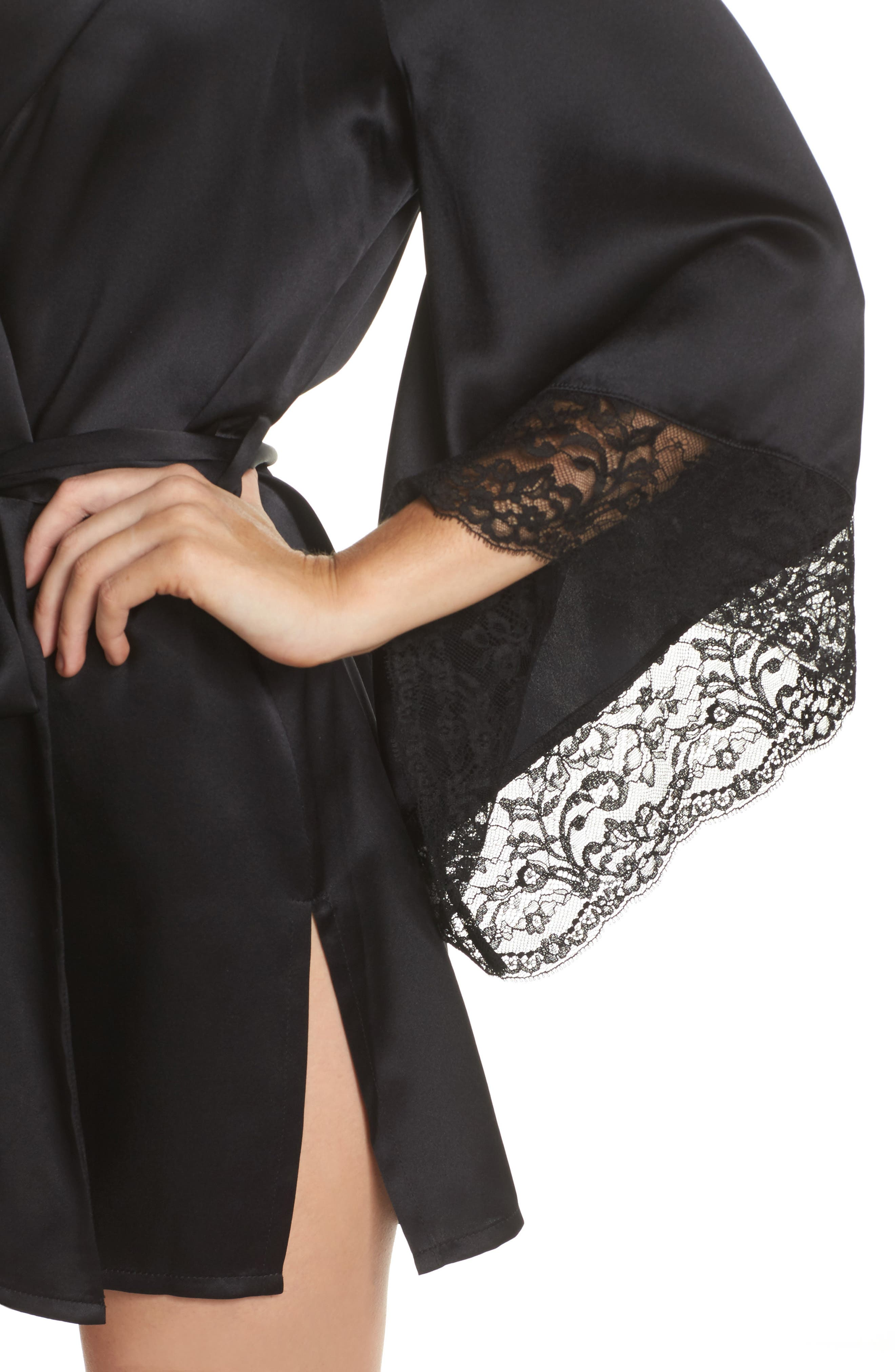 Yukata Lace & Silk Robe,                             Alternate thumbnail 4, color,                             BLACK