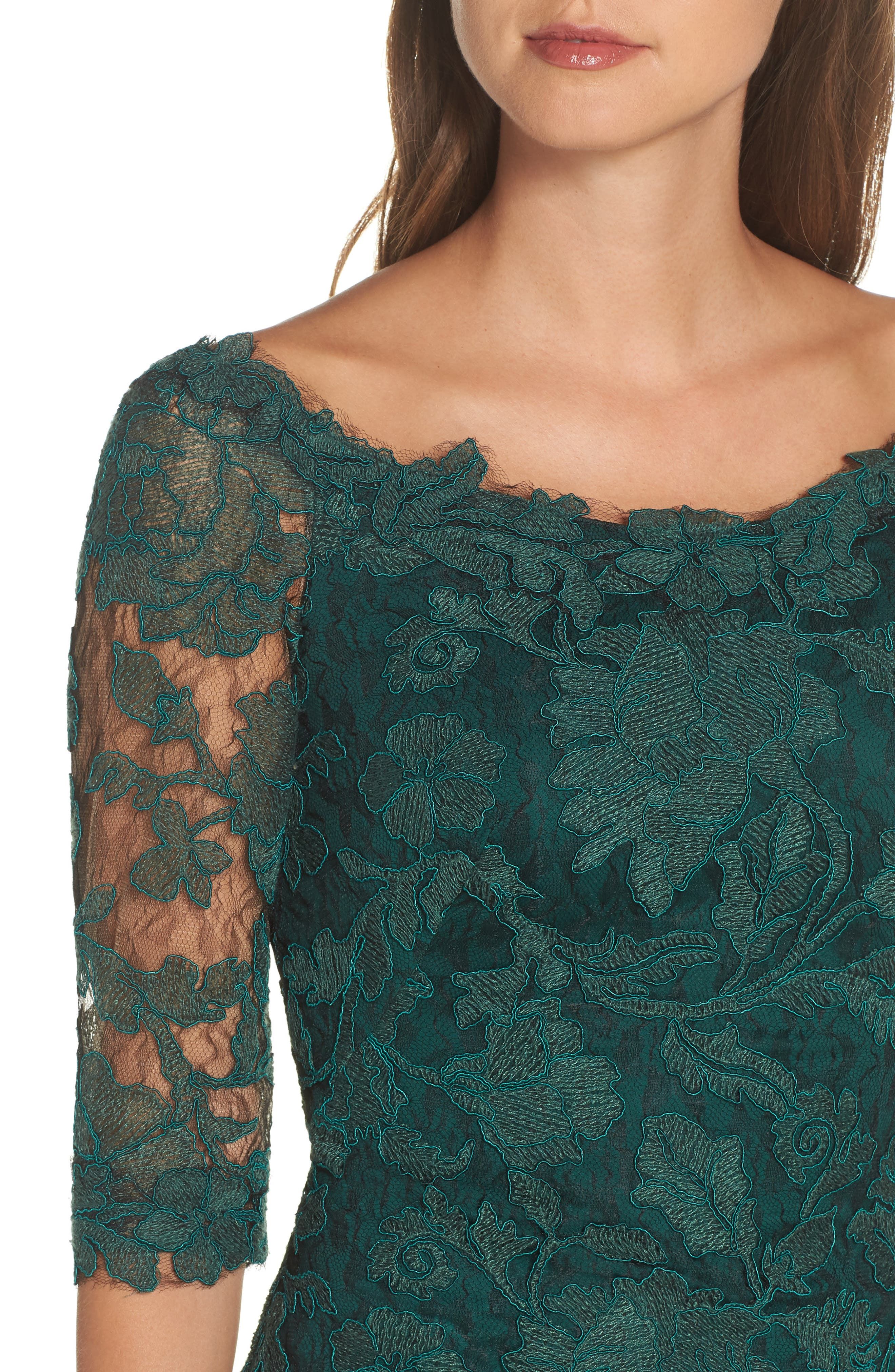 Embroidered Boat Neck Mermaid Gown,                             Alternate thumbnail 4, color,                             SEAGRASS