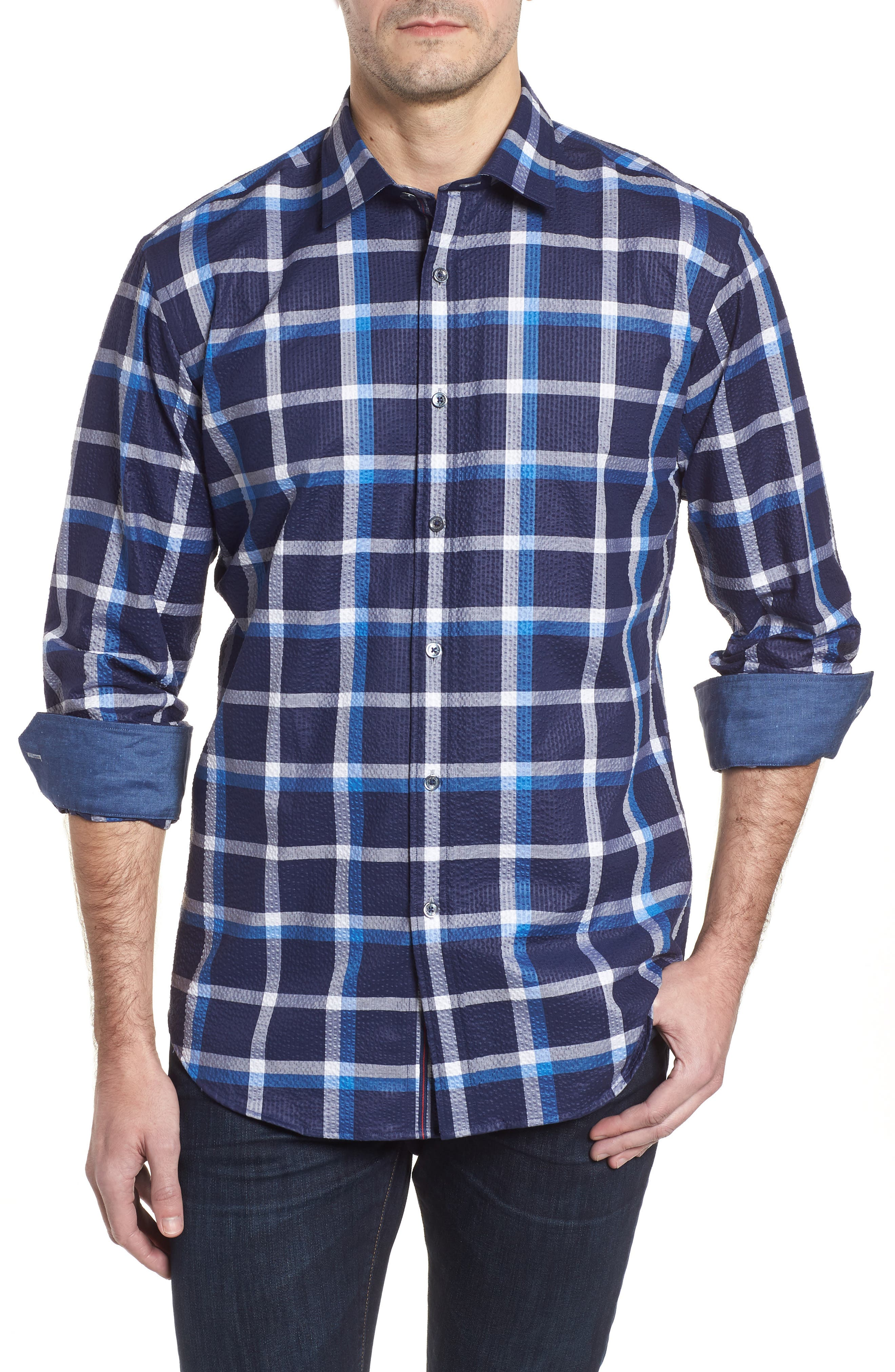 Shaped Fit Windowpane Plaid Sport Shirt,                         Main,                         color, NAVY