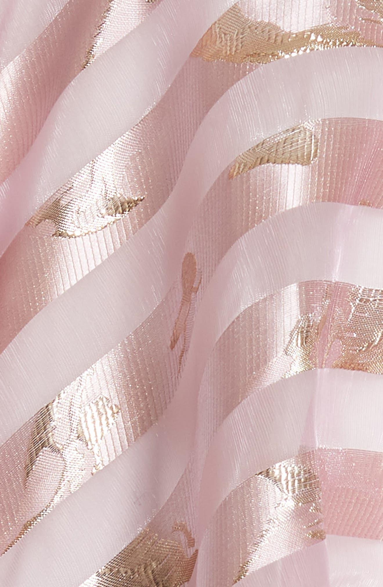 Harmony Burnout Metallic Stripe Dress,                             Alternate thumbnail 5, color,                             PALE PINK