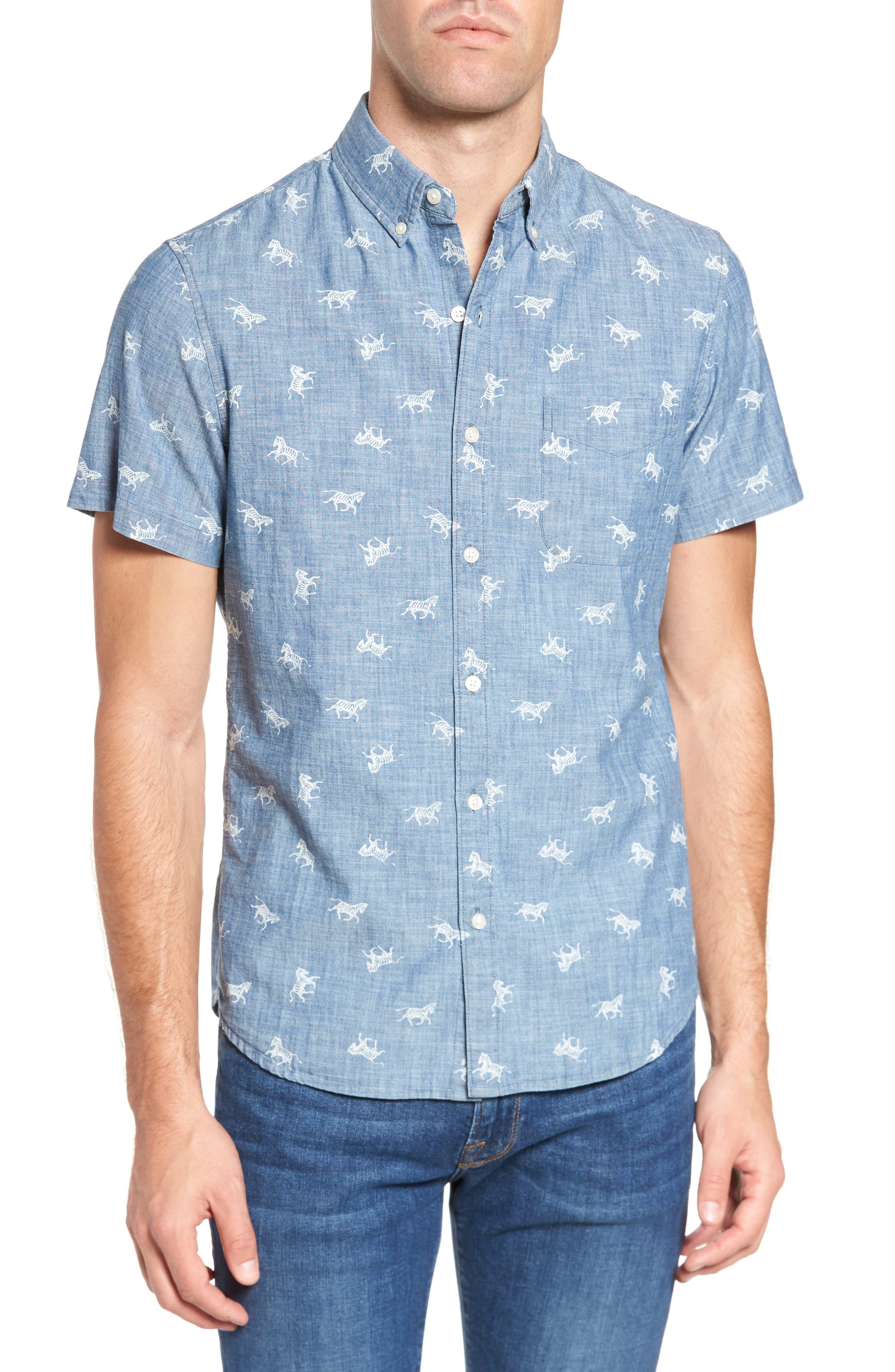 Slim Fit Embroidered Zebras Sport Shirt,                         Main,                         color, 400