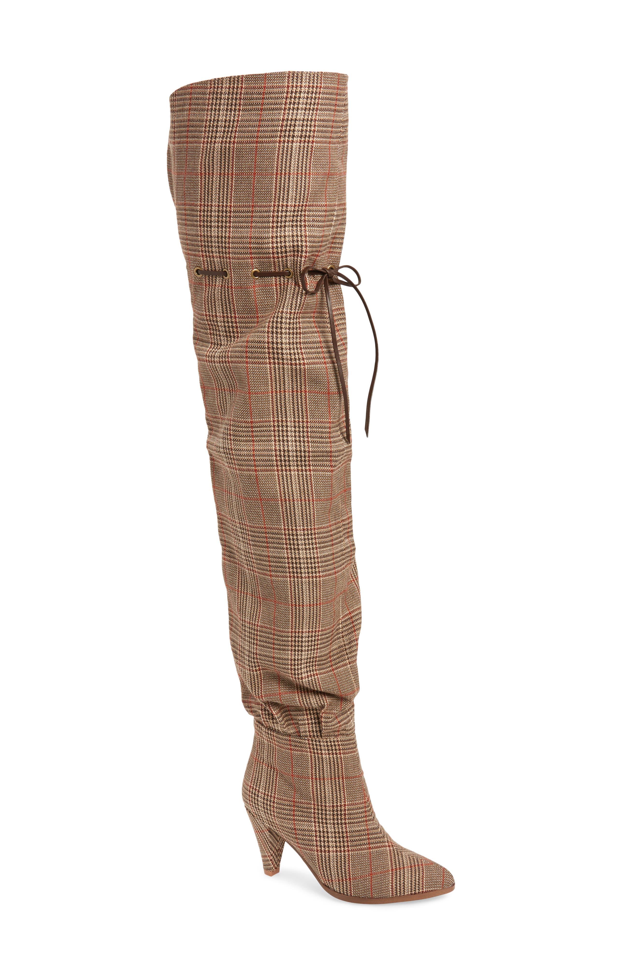 Go-Go-Girl Thigh High Boot,                             Main thumbnail 1, color,                             BEIGE PLAID