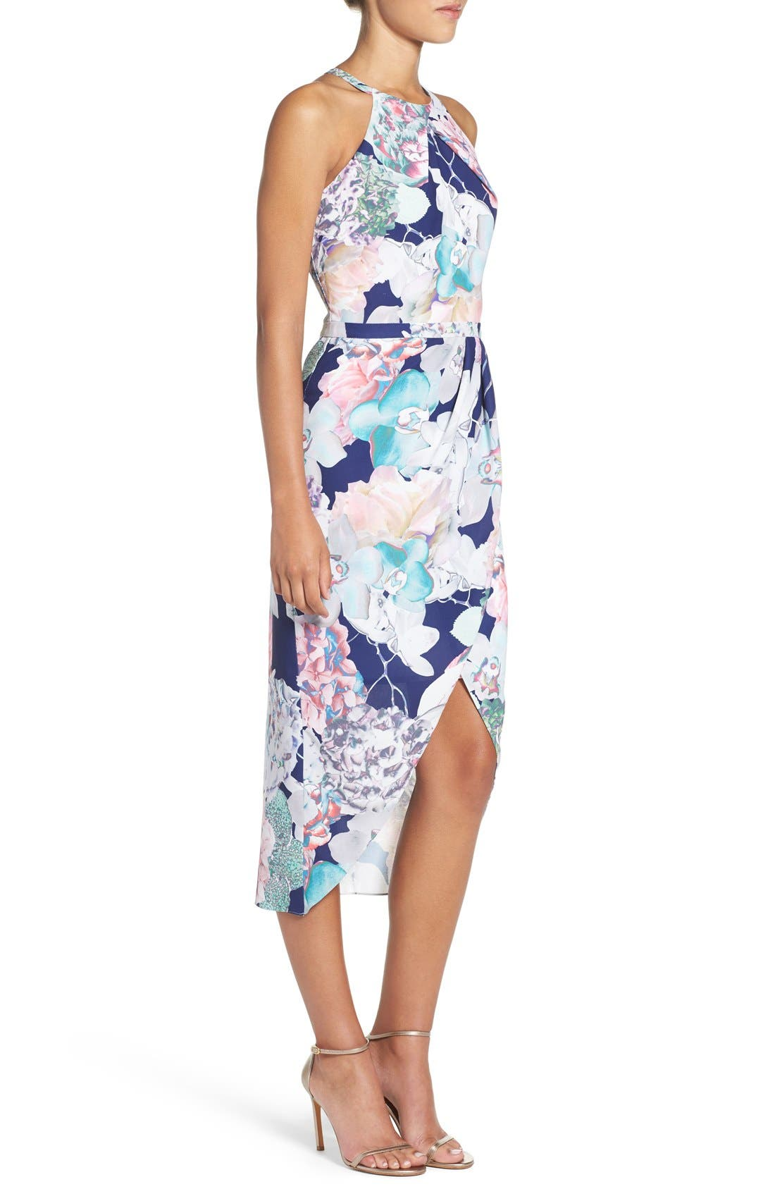Floral Faux Wrap Dress,                             Alternate thumbnail 2, color,                             410