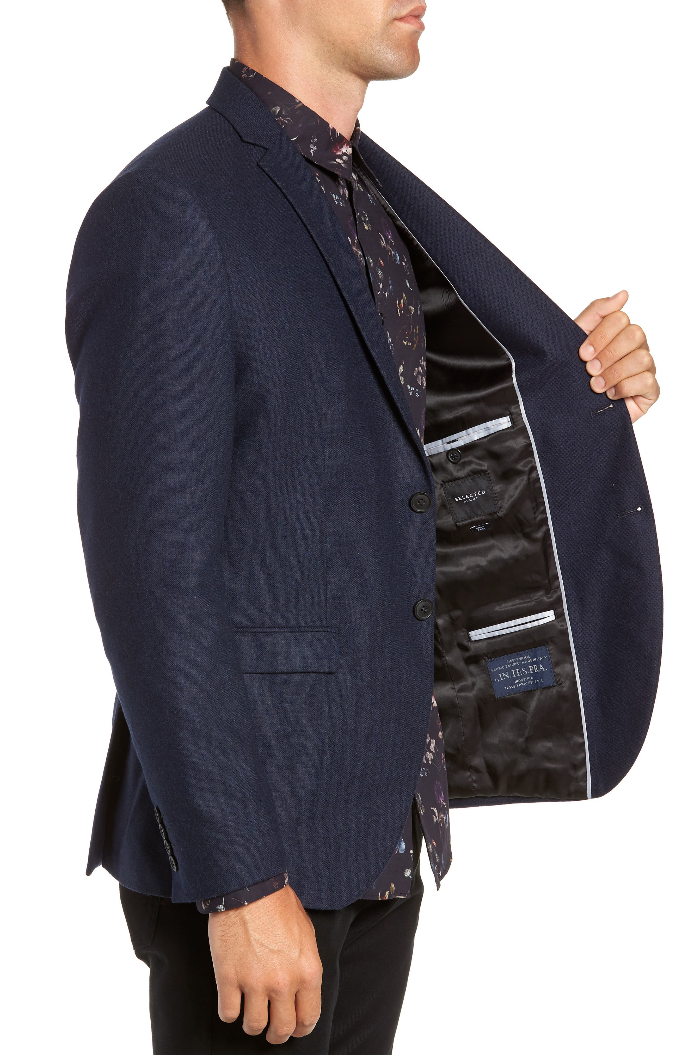 Myloiver Slim Fit Wool Blend Blazer,                             Alternate thumbnail 3, color,                             DARK NAVY