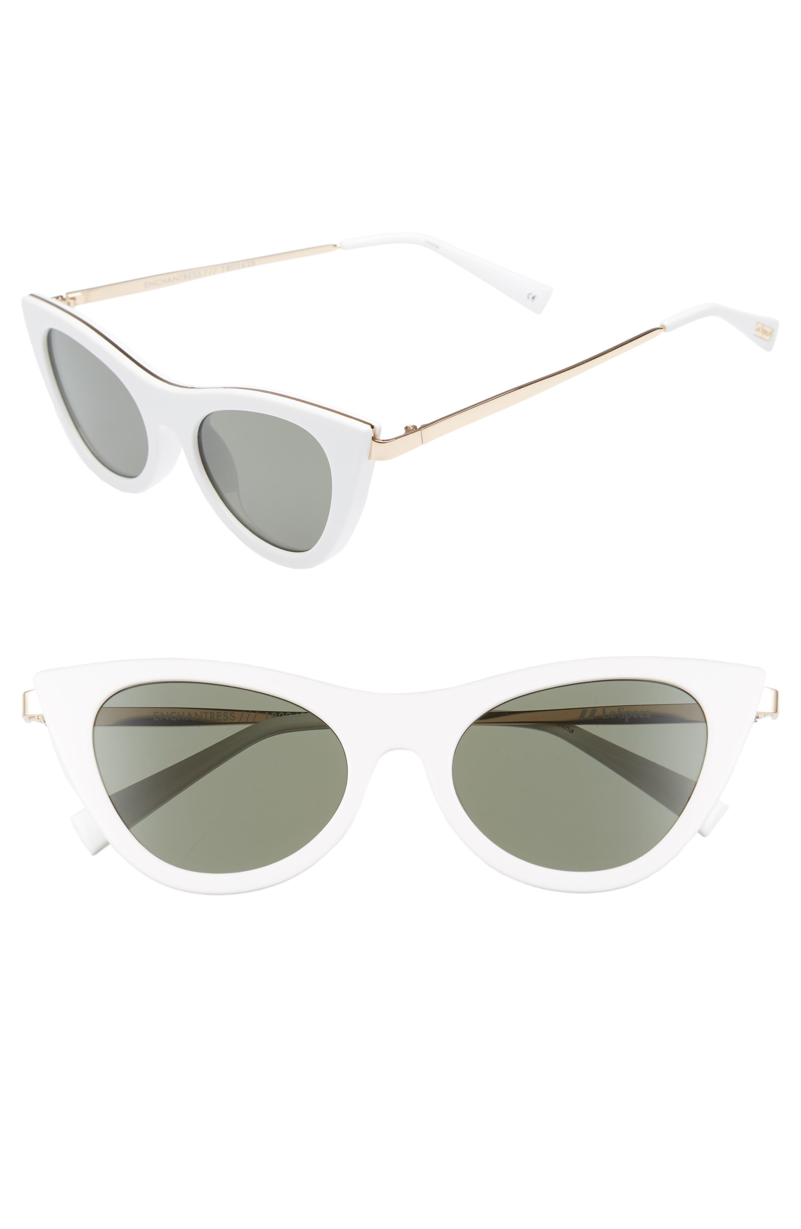 LE SPECS,                             Enchantress 50mm Cat Eye Sunglasses,                             Main thumbnail 1, color,                             100