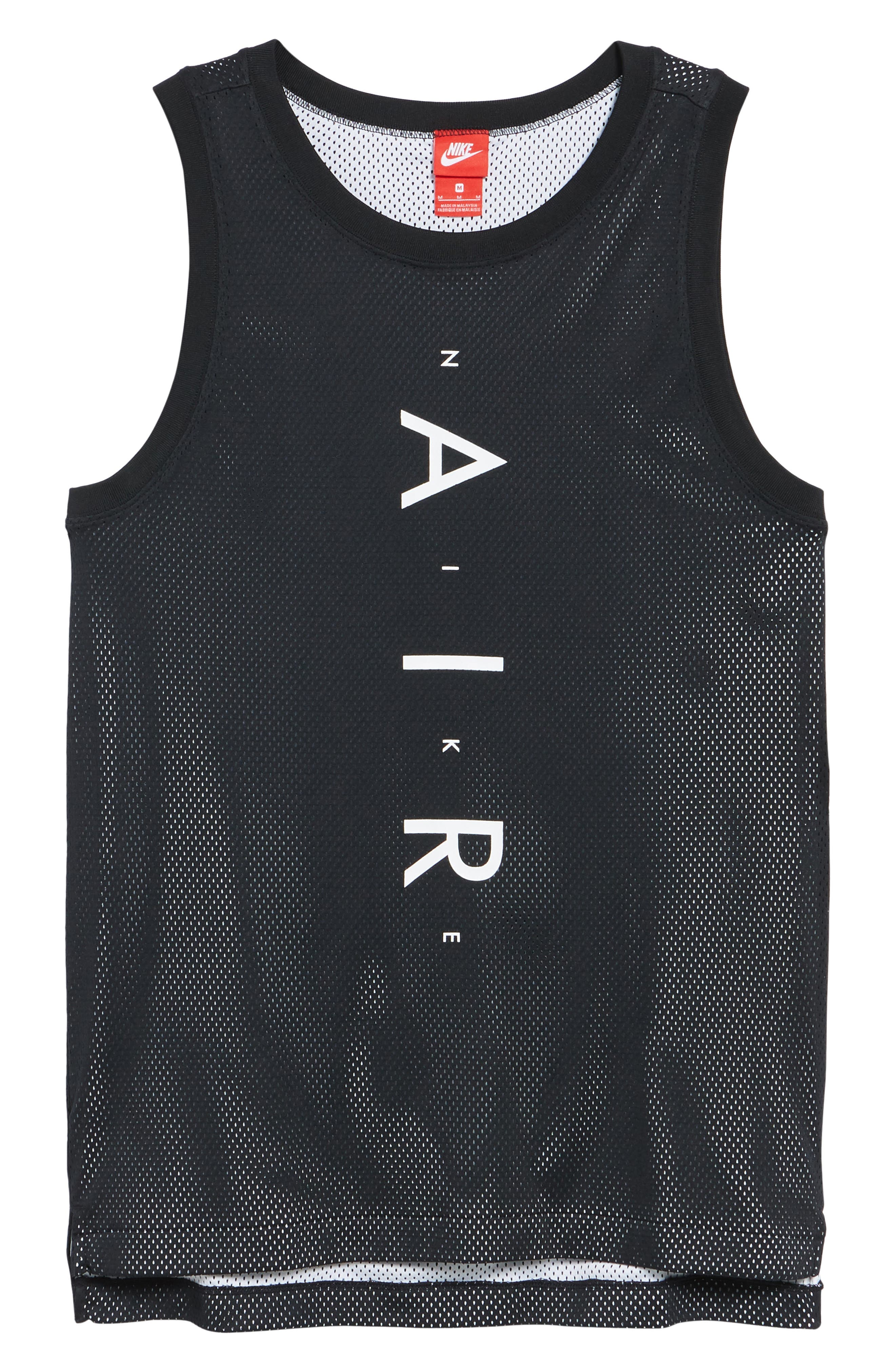 Sportswear Air Knit Tank,                             Alternate thumbnail 6, color,                             BLACK/ WHITE