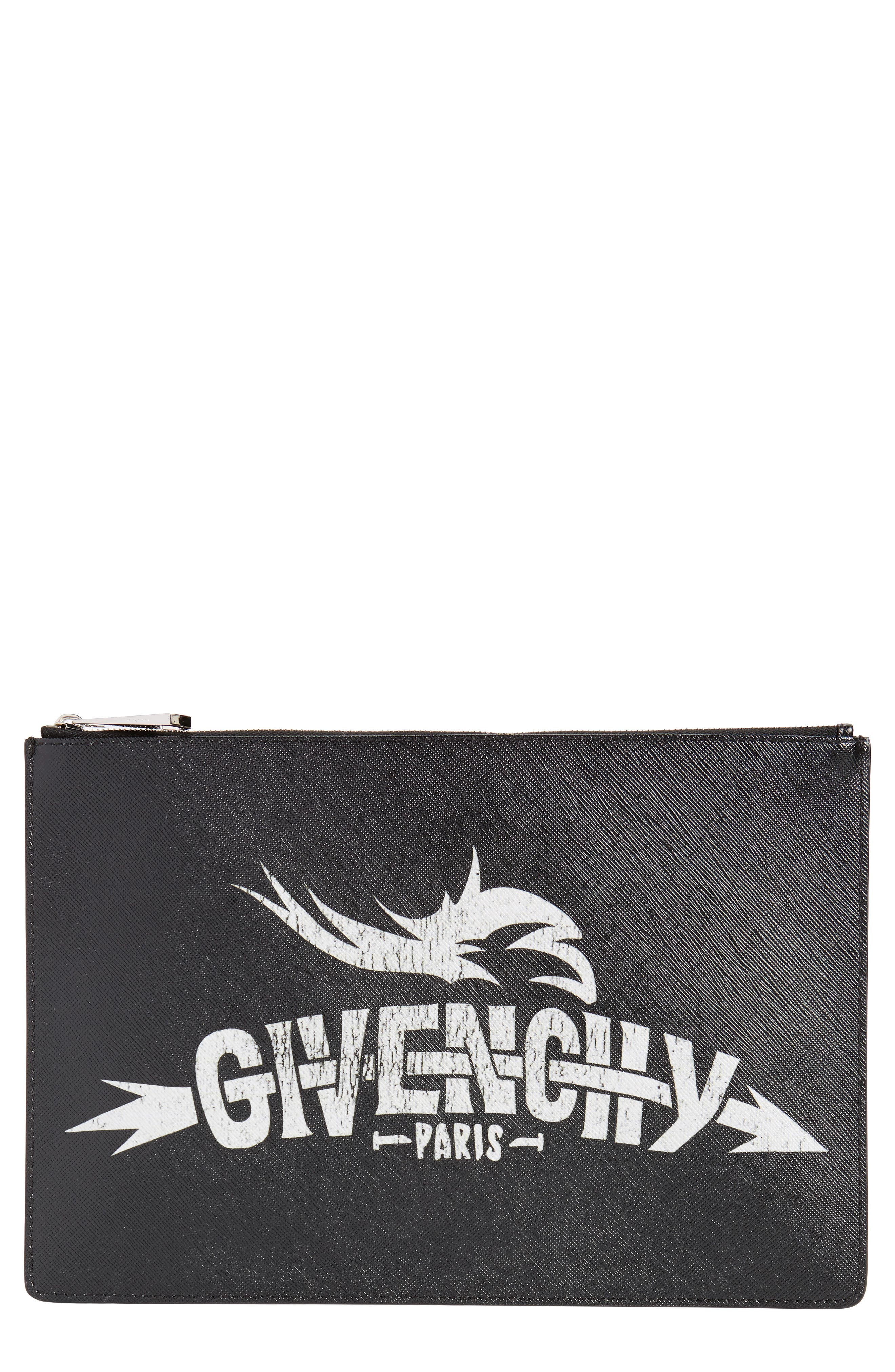 2d75947a01 Givenchy Medium Icon Faux Leather Print Pouch - Black