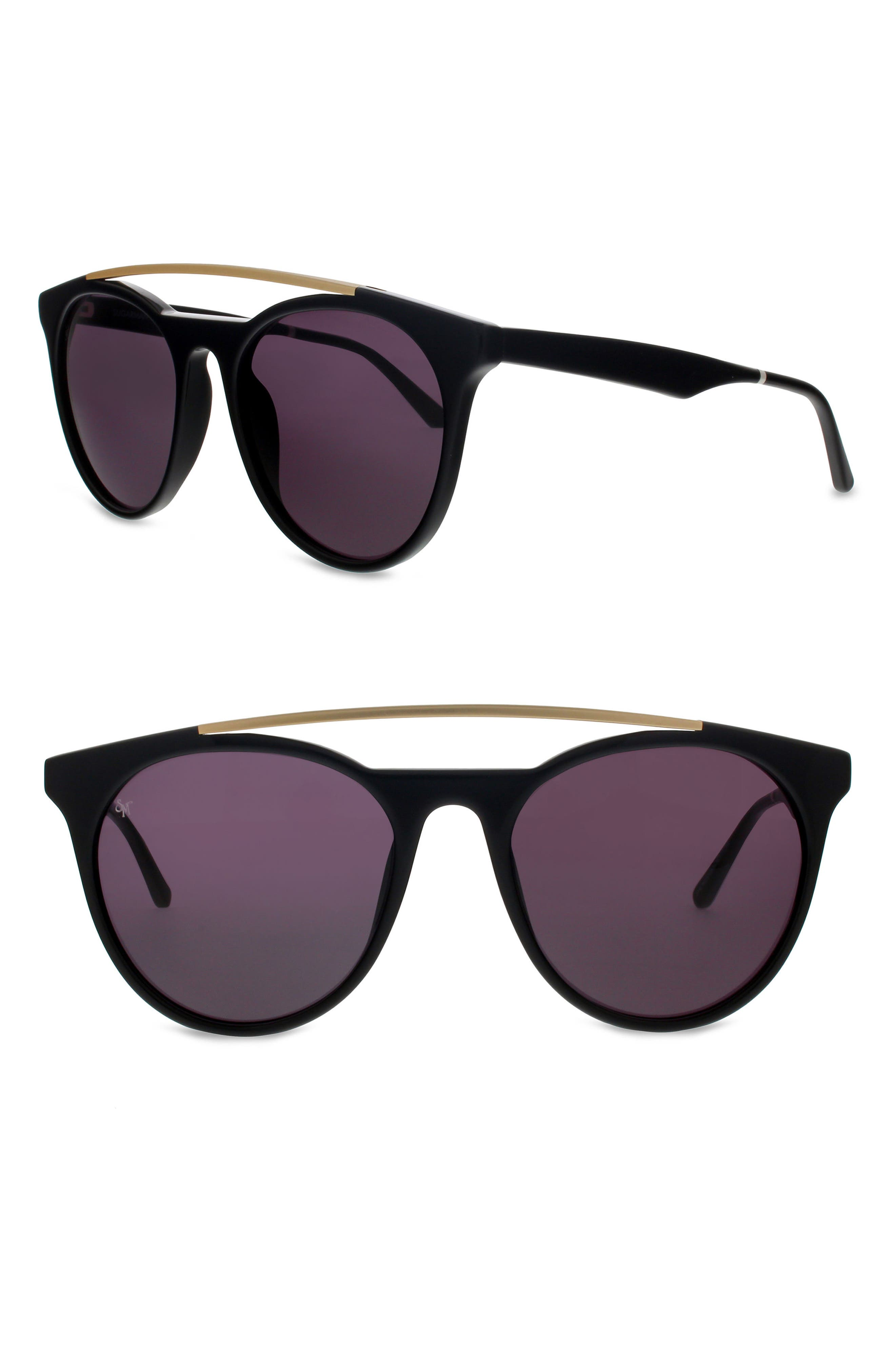SMOKE X MIRRORS,                             Sugarman 52mm Round Sunglasses,                             Main thumbnail 1, color,                             BLACK/ MATTE GOLD