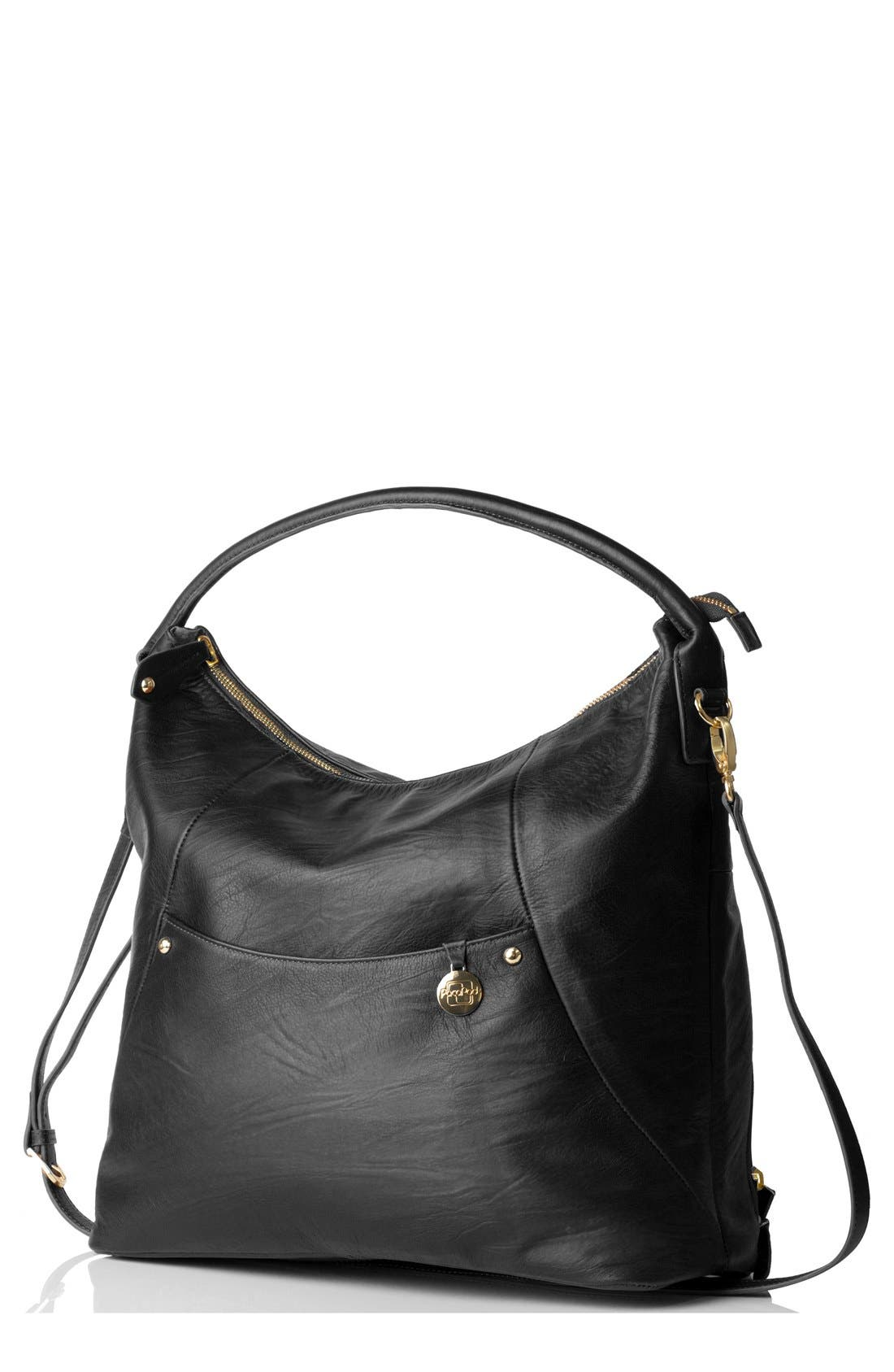 'Jasper' Leather Diaper Bag,                             Main thumbnail 1, color,                             001
