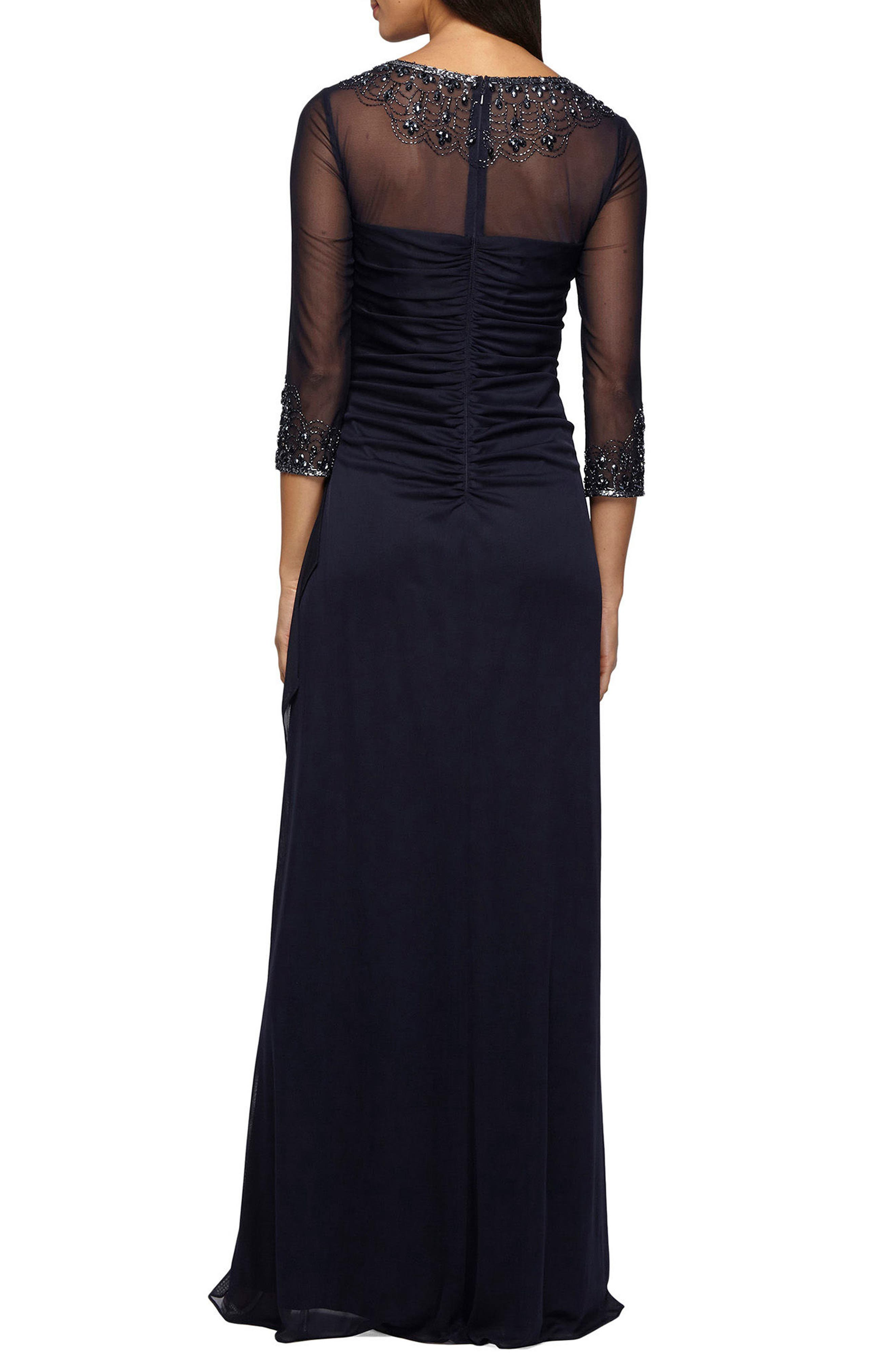 Embellished A-Line Gown,                             Alternate thumbnail 2, color,                             DARK NAVY