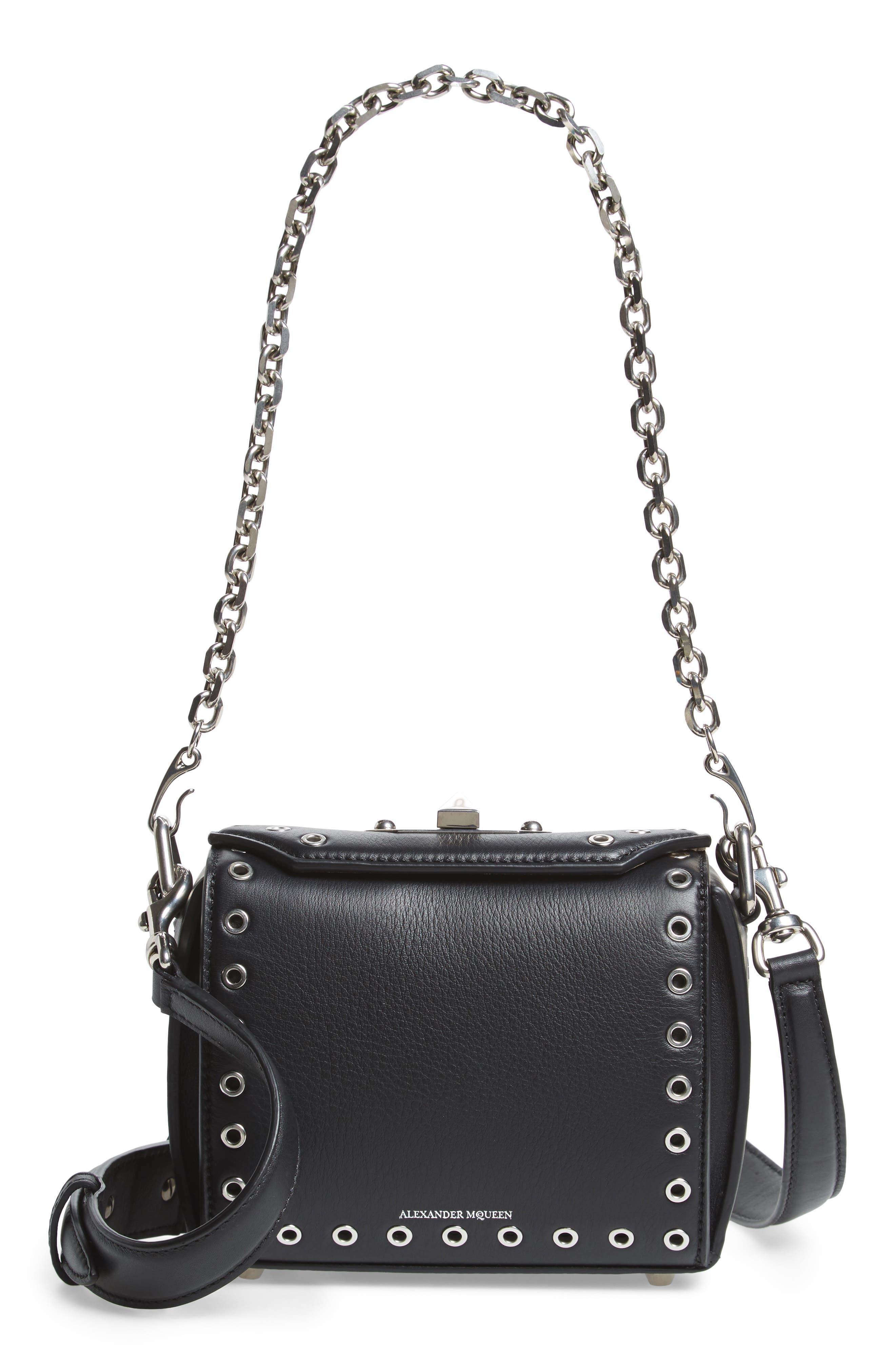 Mini Box Grommet Leather Bag,                         Main,                         color, 001