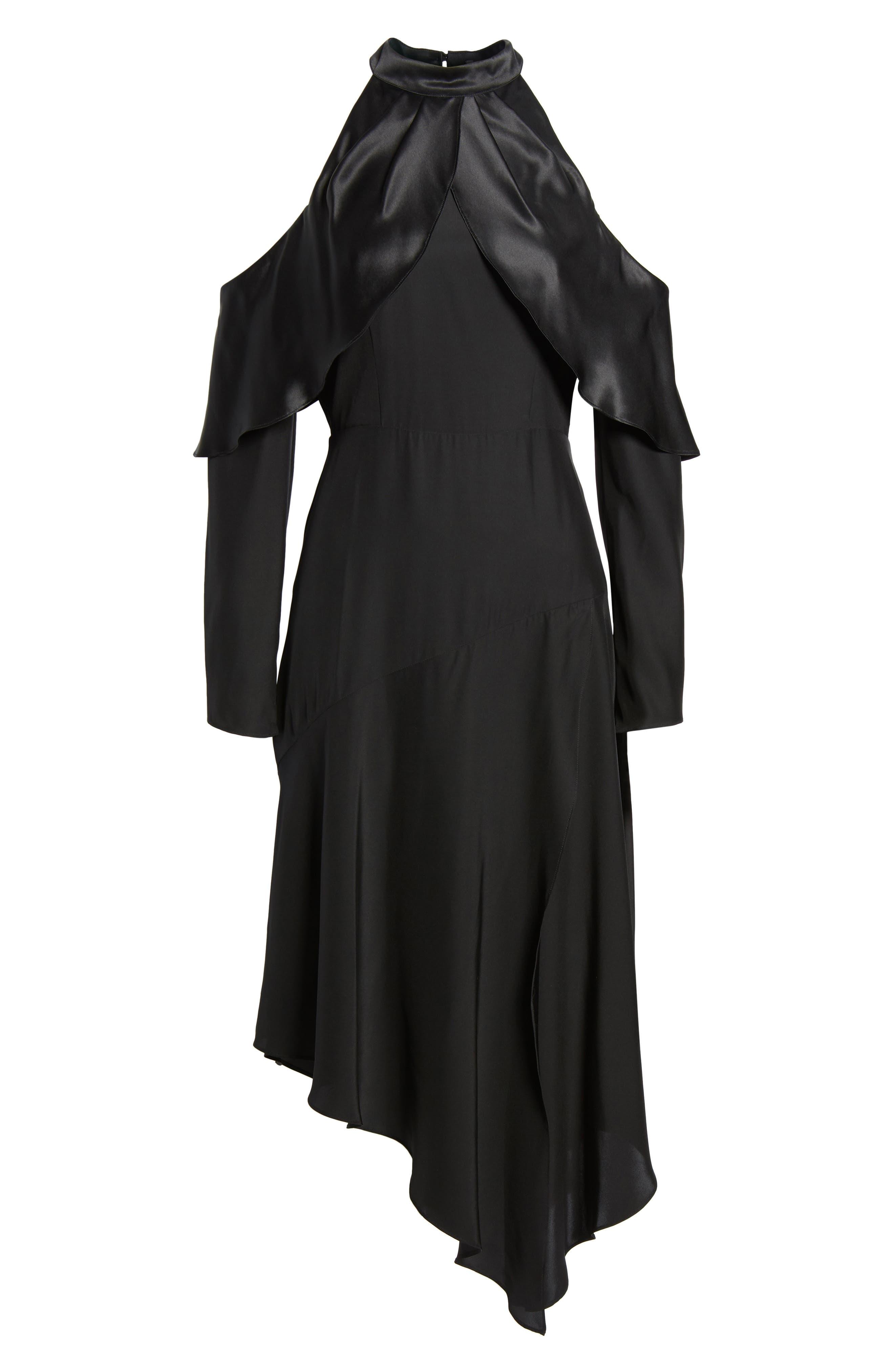 Tanya Cold Shoulder Silk Dress,                             Alternate thumbnail 6, color,                             001