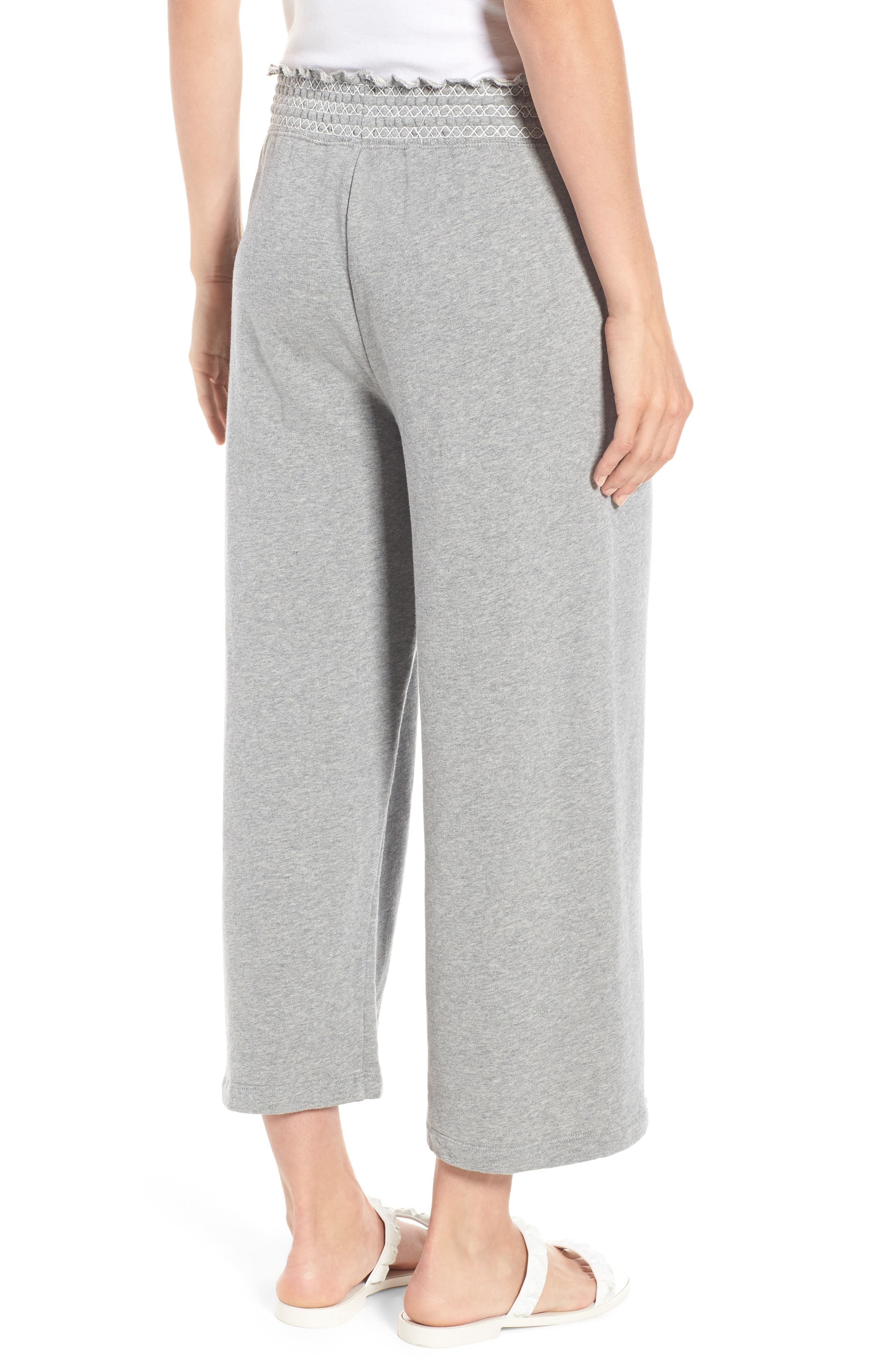 smocked wide leg crop sweatpants,                             Alternate thumbnail 2, color,                             088