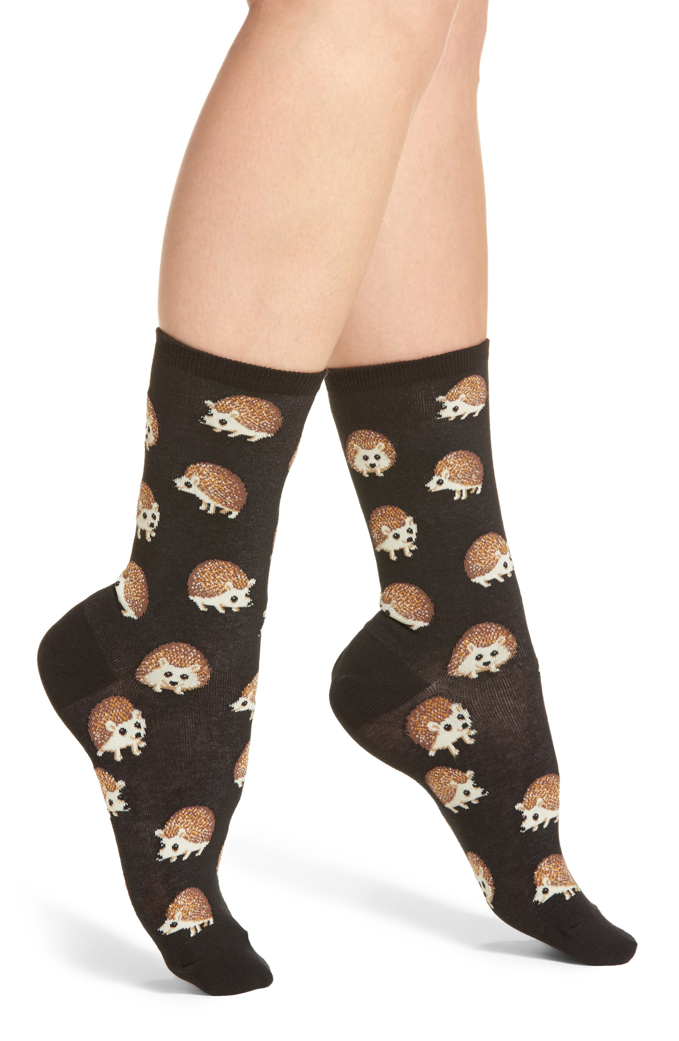 Hedgehog Crew Socks,                             Main thumbnail 1, color,                             001