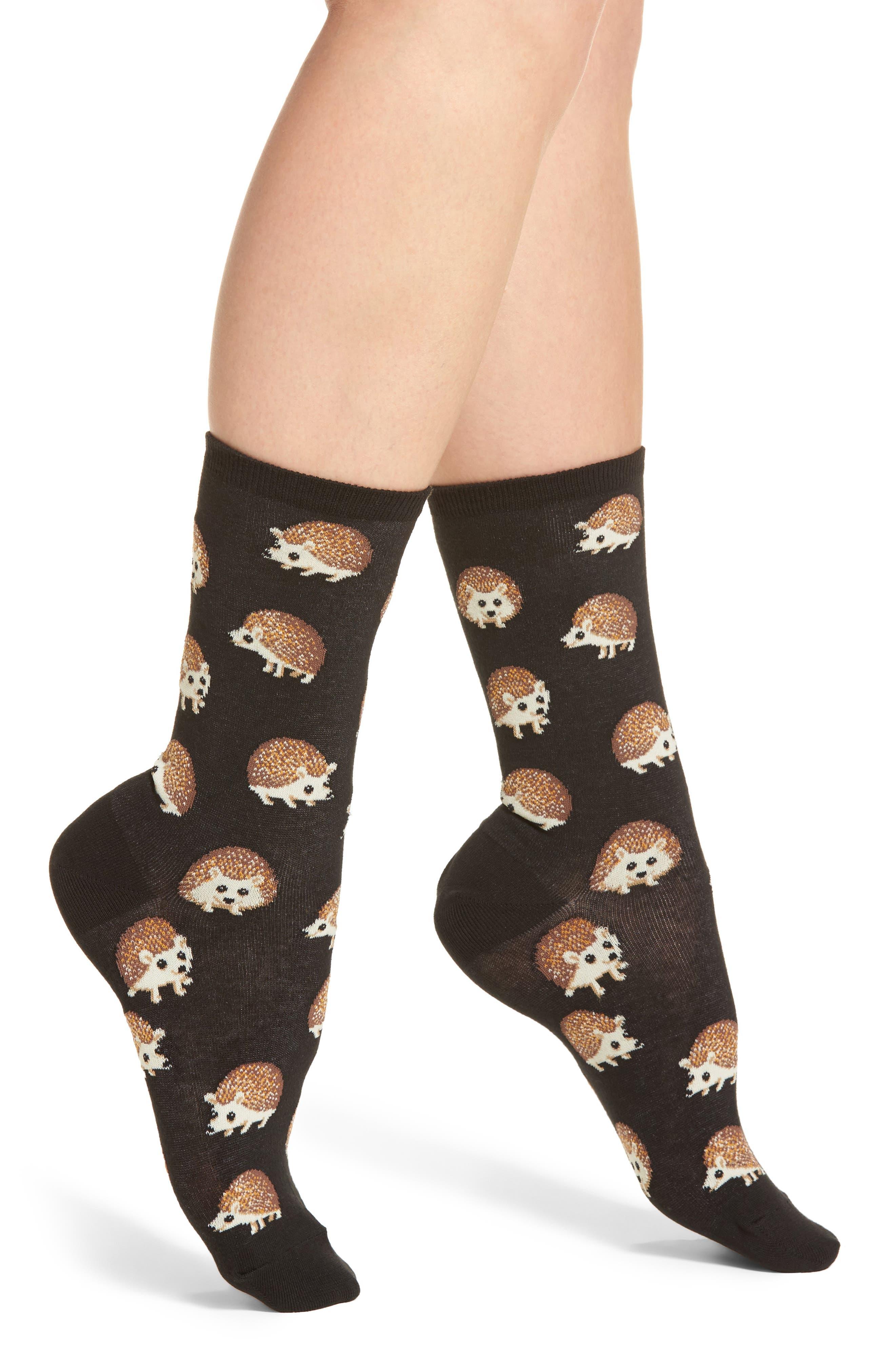 Hedgehog Crew Socks,                         Main,                         color, 001