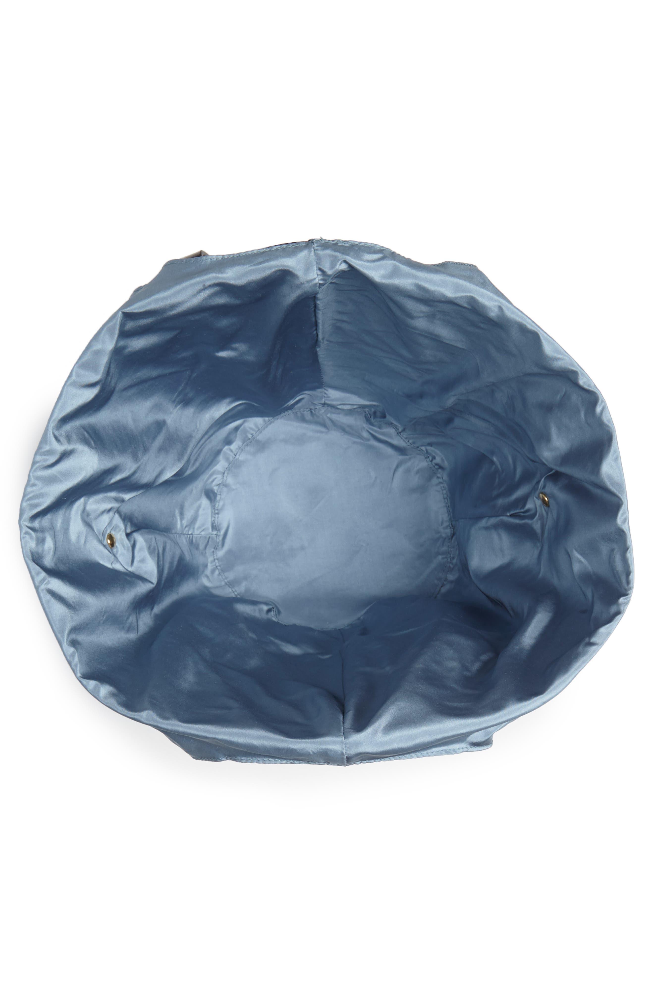 Large Leather Bucket Bag,                             Alternate thumbnail 4, color,                             BLACK W/ ENGLISH BLUE