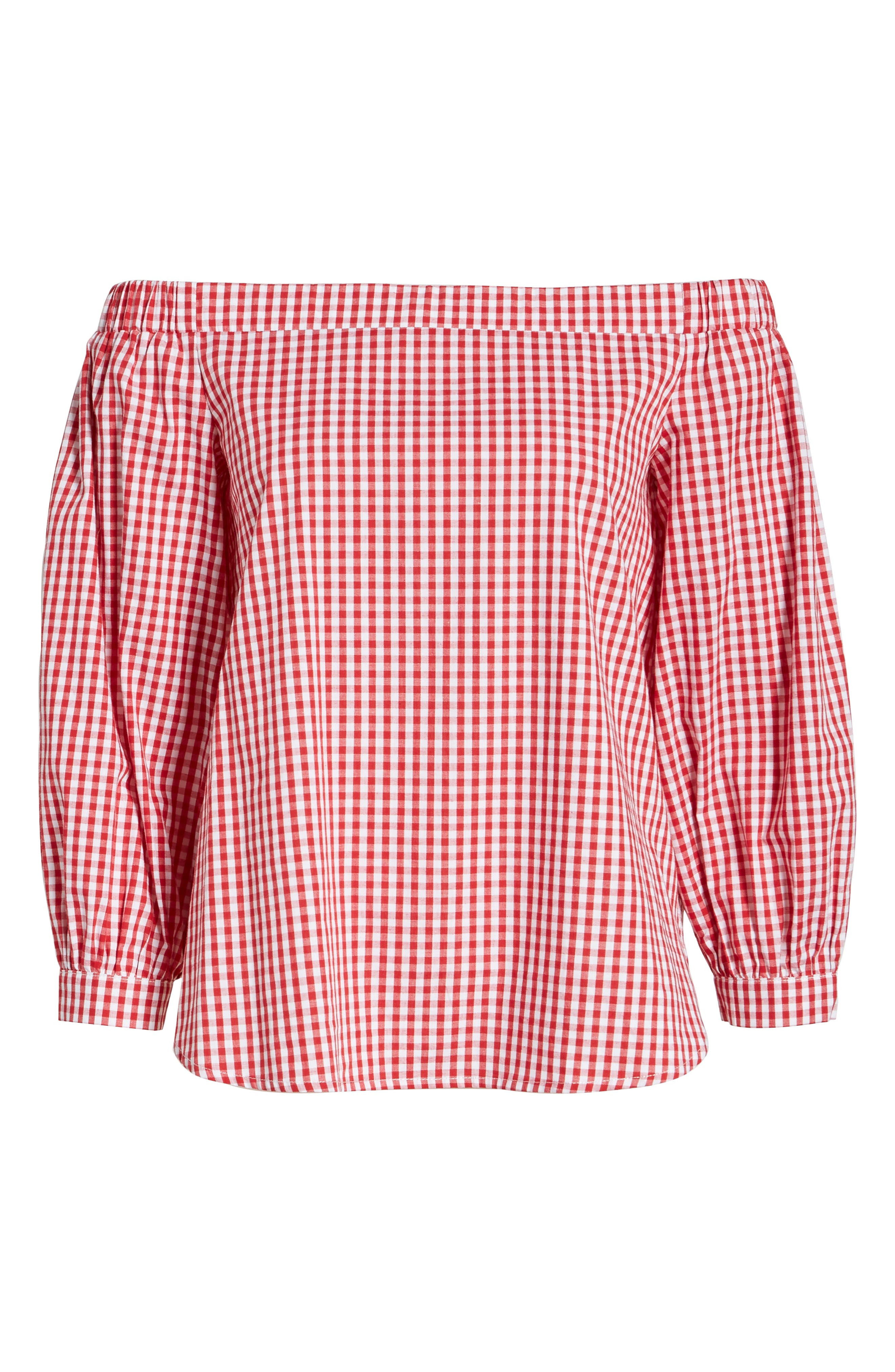 SOPRANO,                             Gingham Off the Shoulder Bubble Sleeve Top,                             Alternate thumbnail 6, color,                             600