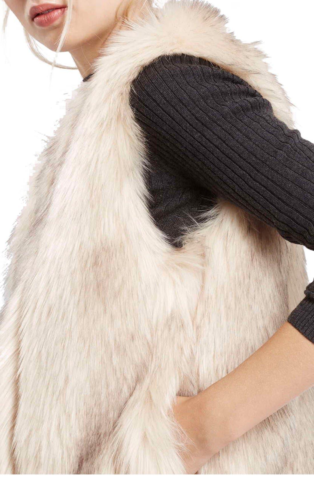 'Leah' Faux Fur Vest,                             Alternate thumbnail 4, color,                             900