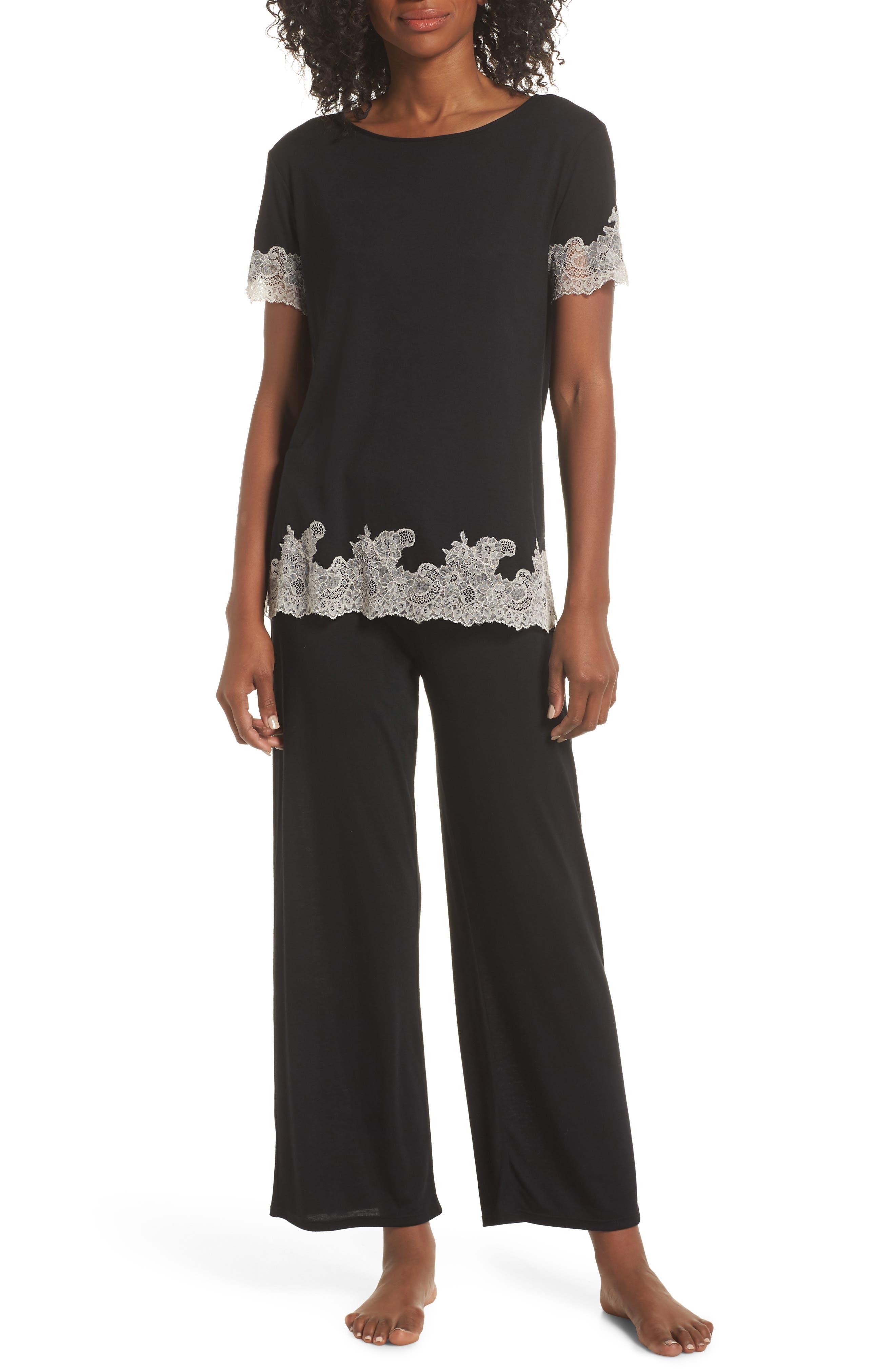 Luxe Shangri-La Pajamas,                             Main thumbnail 1, color,                             BLACK/ COCOON