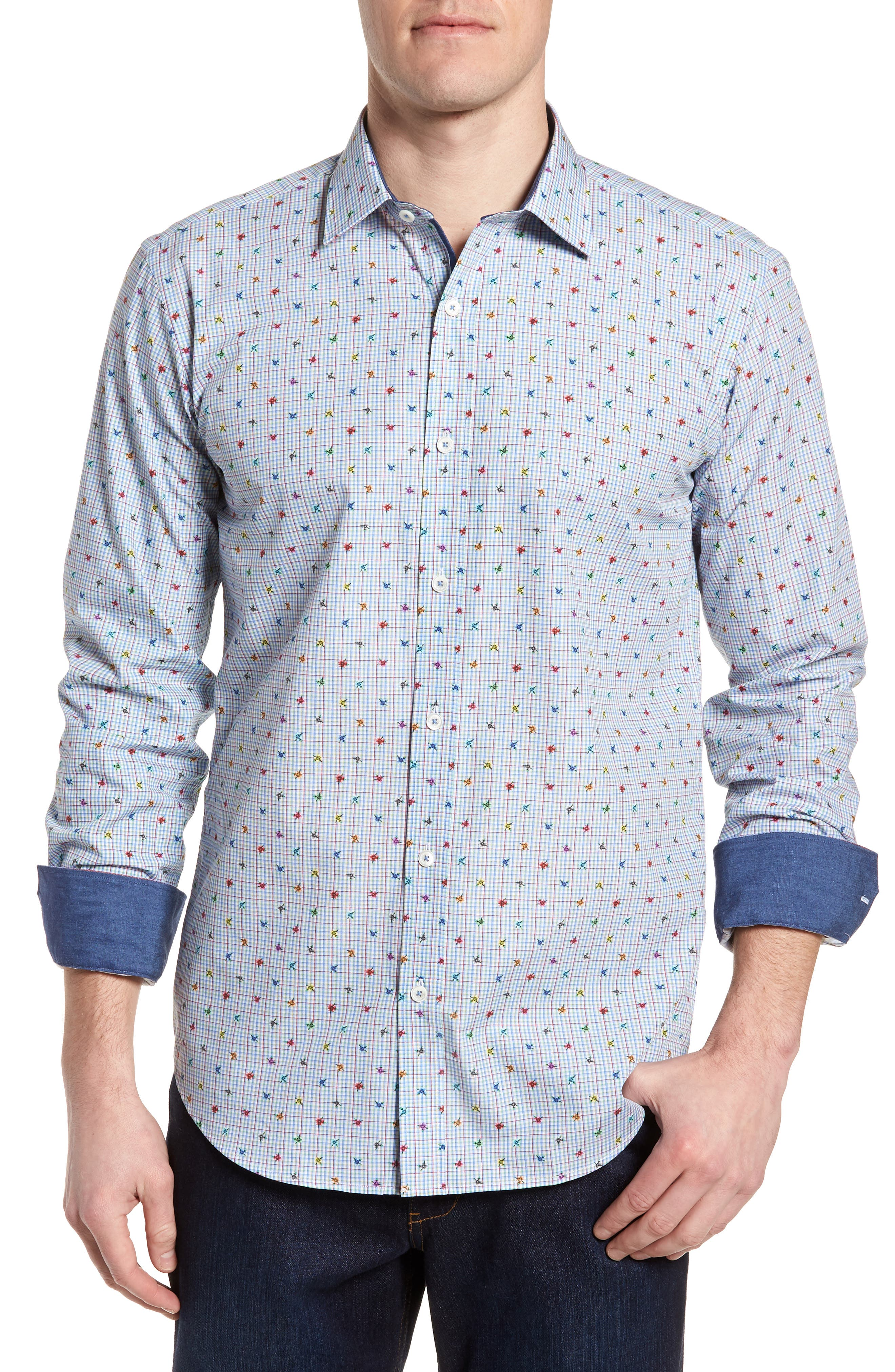 Shaped Fit Floral Check Sport Shirt,                         Main,                         color, 601
