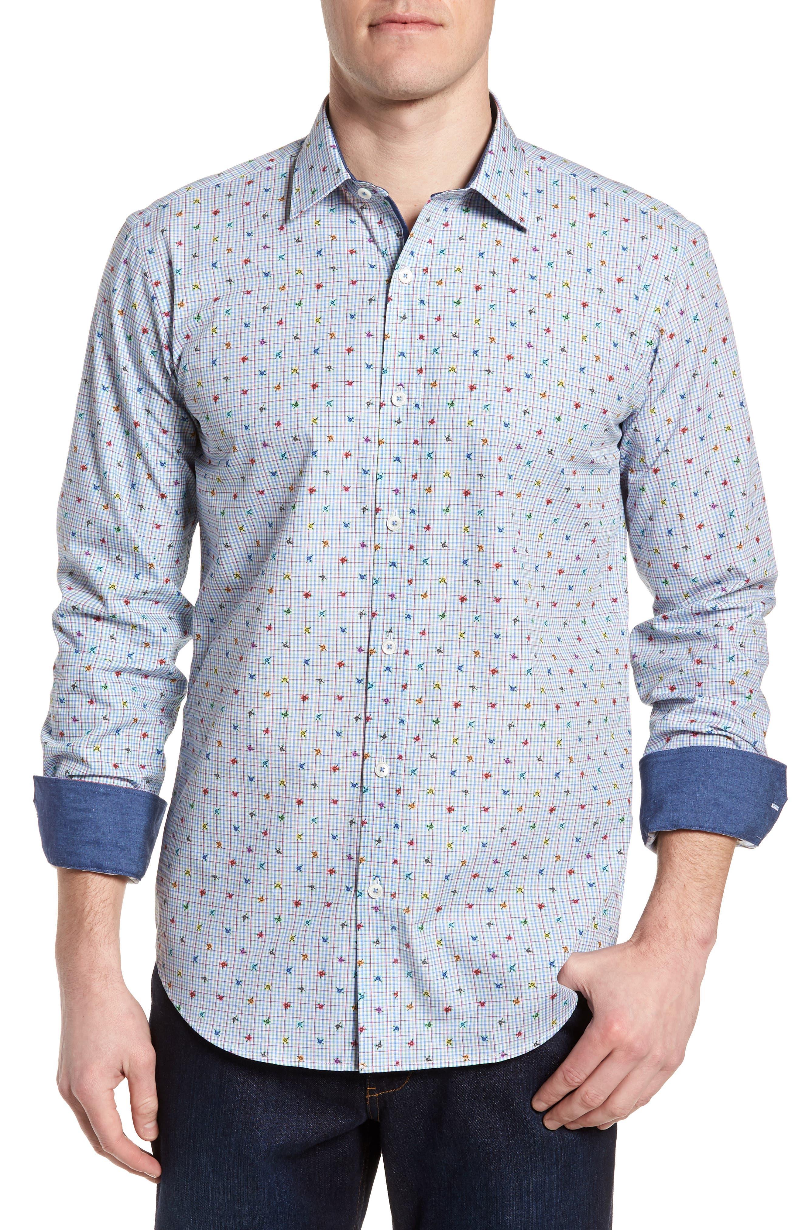 Shaped Fit Floral Check Sport Shirt,                         Main,                         color,