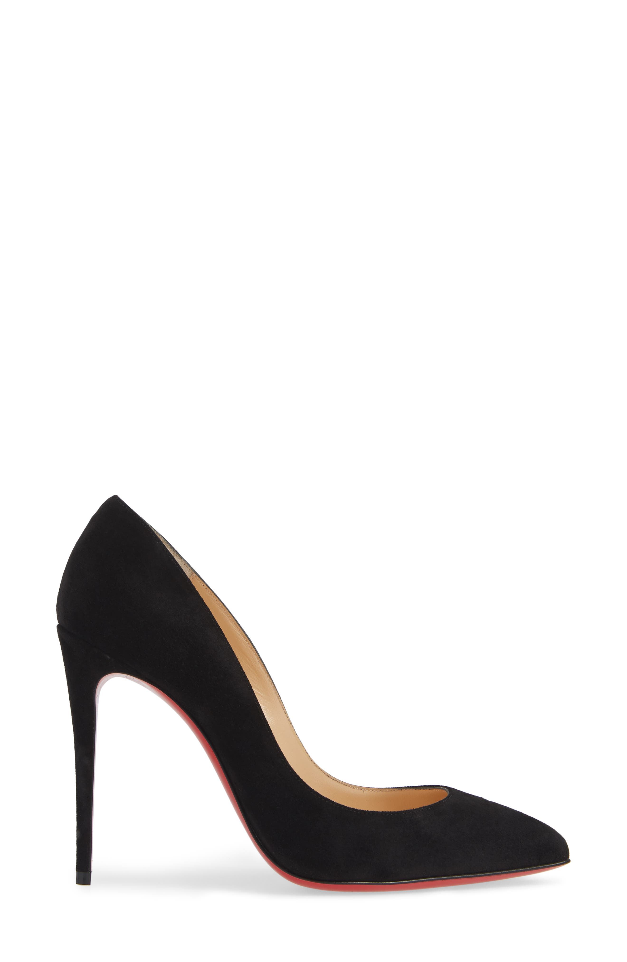 Pigalle Follies Pointy Toe Pump,                             Alternate thumbnail 3, color,                             BLACK SUEDE
