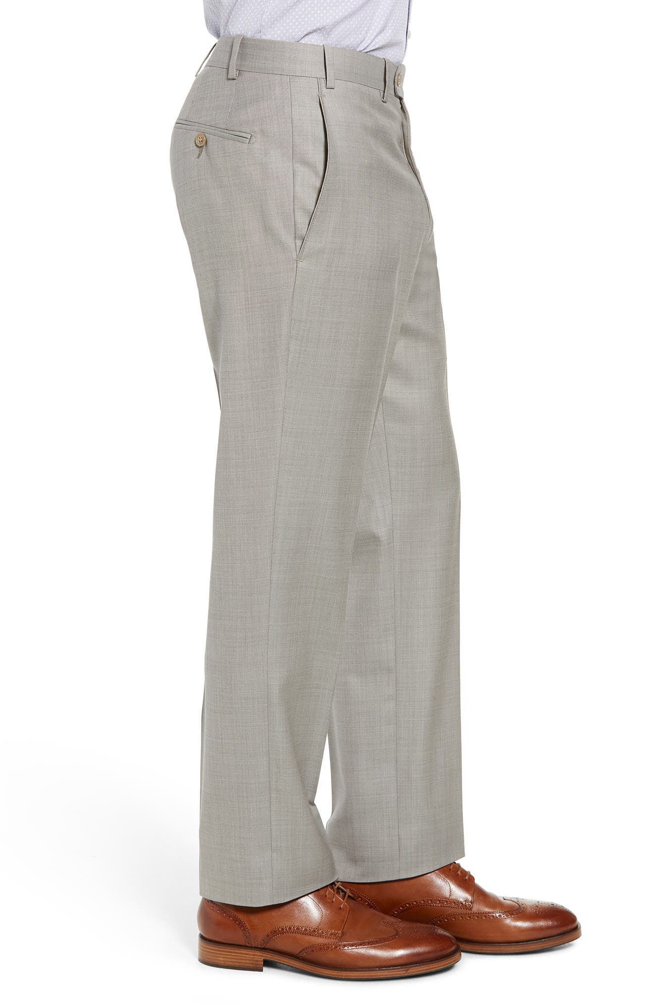 Torino Flat Front Solid Wool Trousers,                             Alternate thumbnail 9, color,