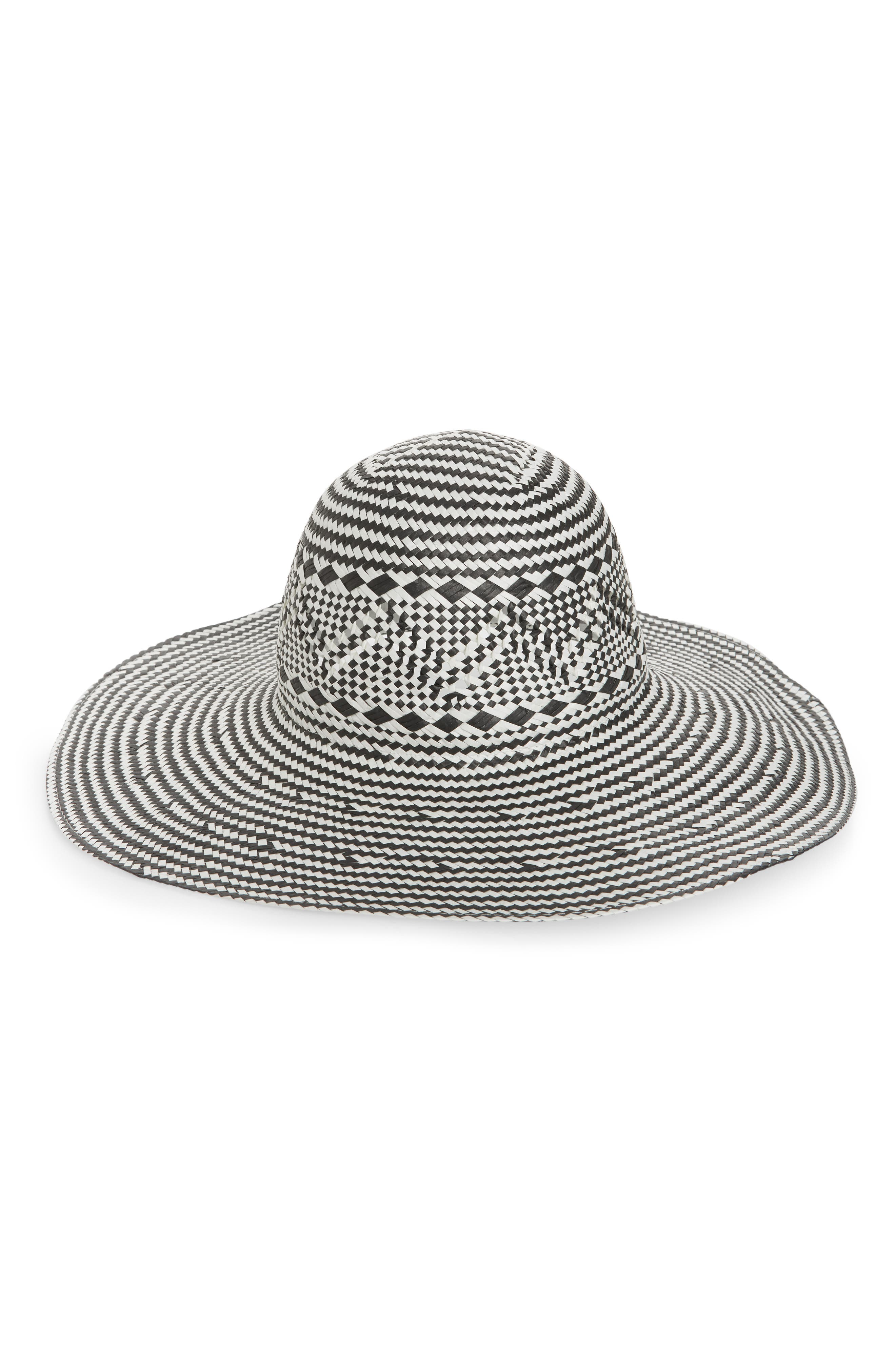 Two-Tone Floppy Straw Hat,                             Main thumbnail 1, color,