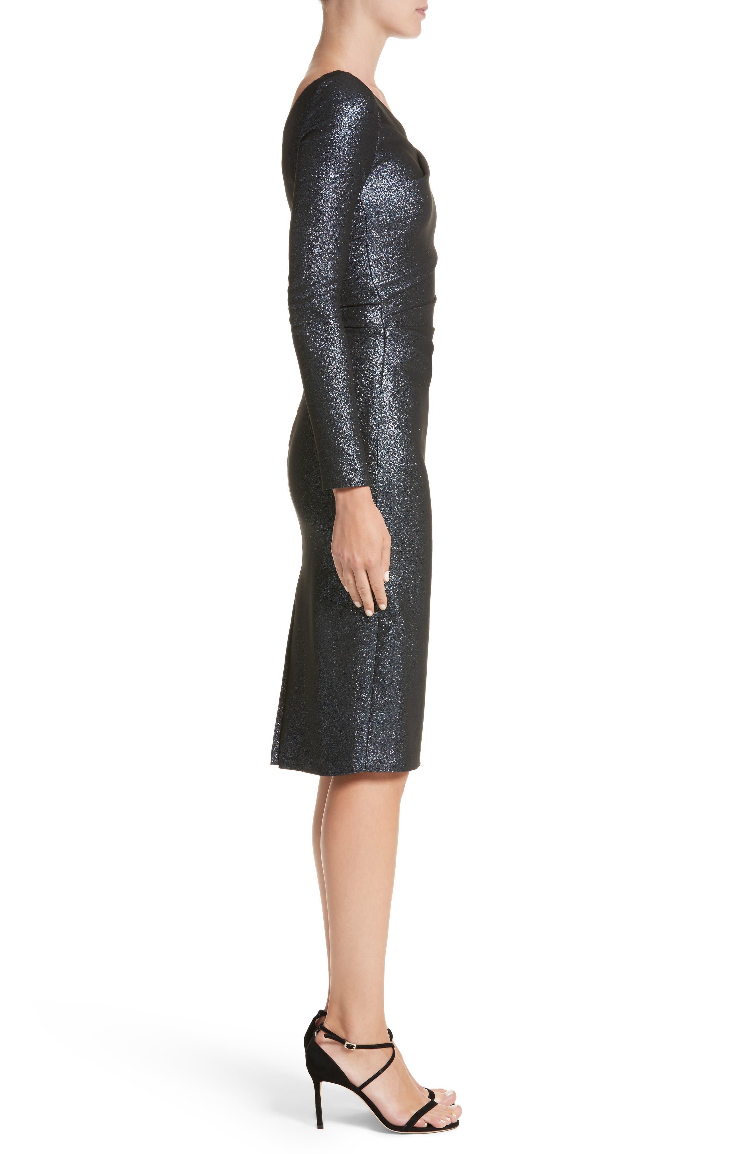 Metallic Asymmetrical Pleat Cocktail Dress,                             Alternate thumbnail 3, color,                             NAUTICAL BLUE