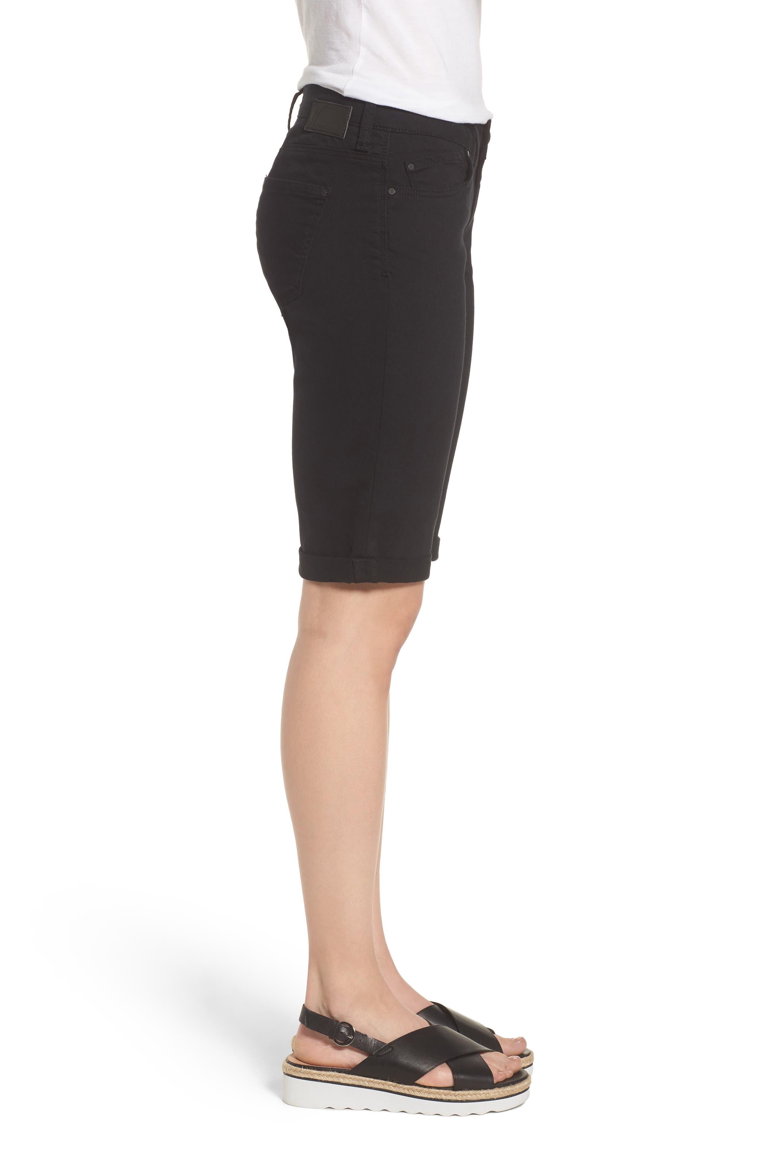 Karly Black Nolita Roll Cuff Bermuda Shorts,                             Alternate thumbnail 3, color,                             001