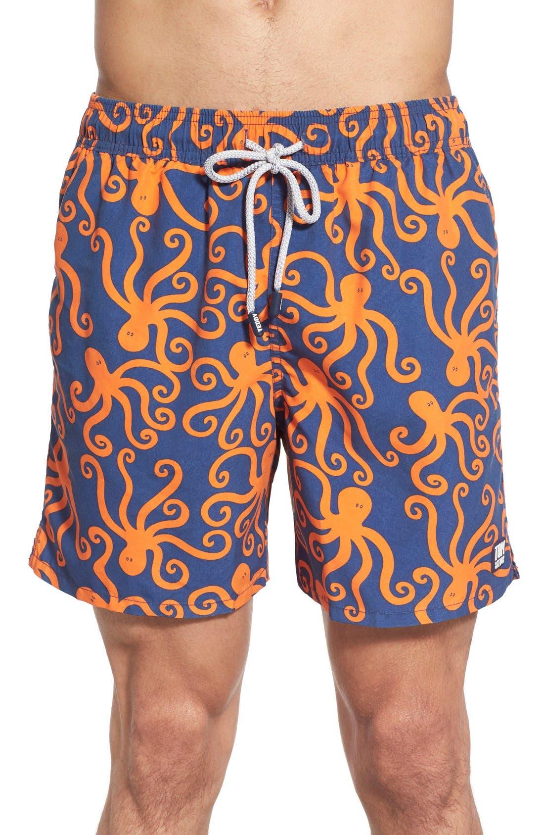 'Octopus Pattern' Swim Trunks, Main, color, BLUE/ ORANGE