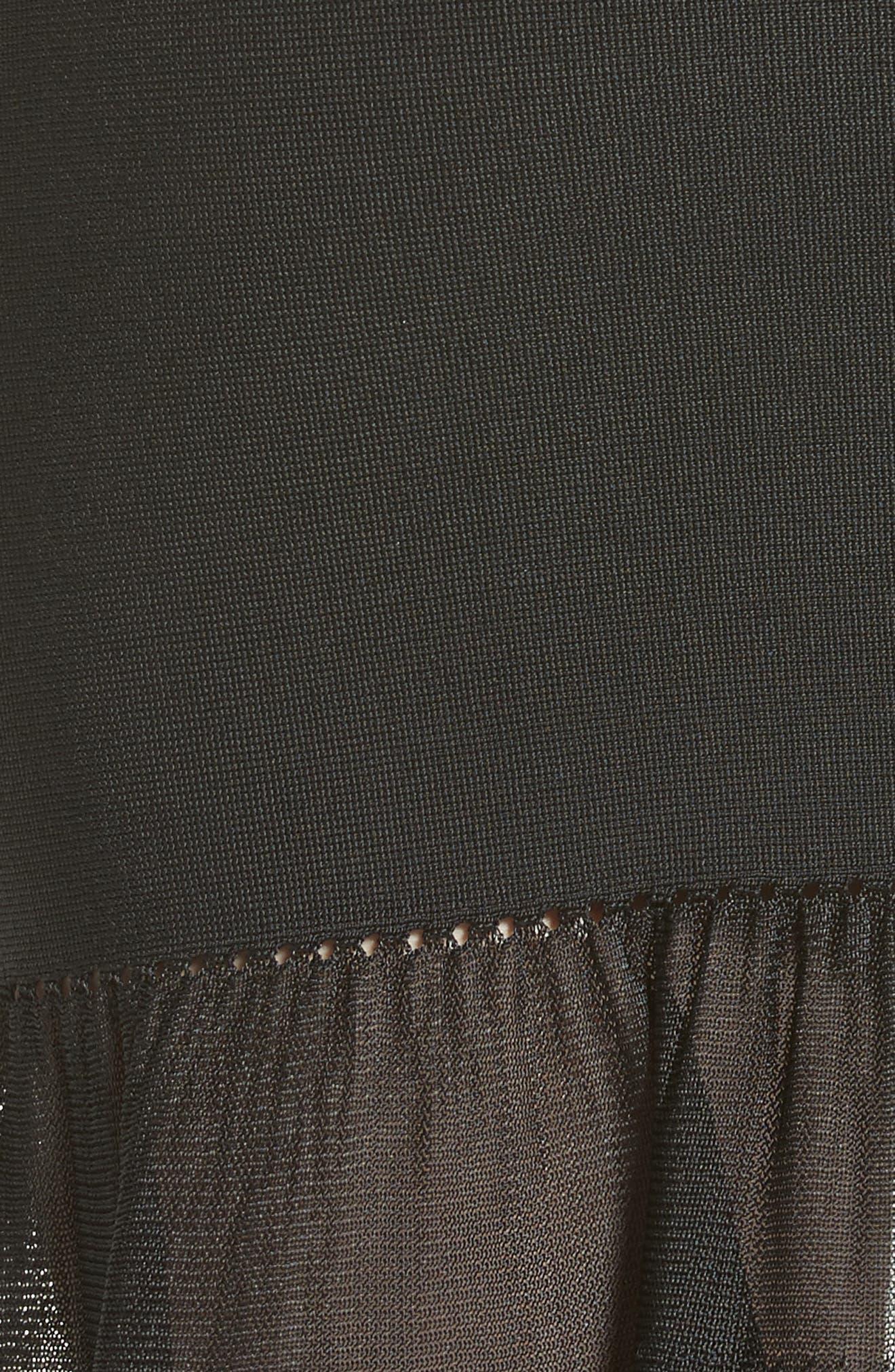 Chain Trim Ruffle Knit Skirt,                             Alternate thumbnail 5, color,                             001