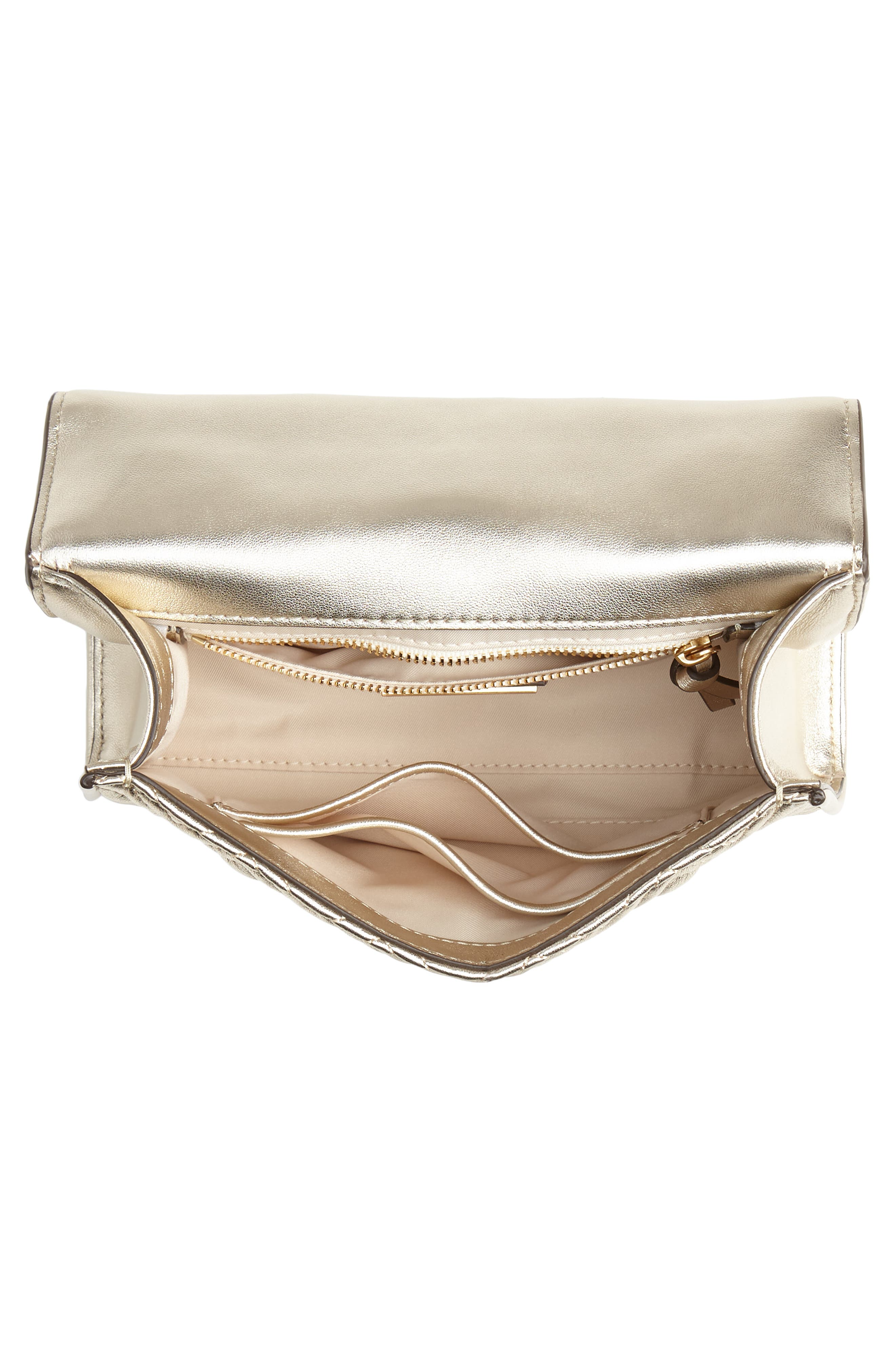 TORY BURCH,                             Small Fleming Metallic Lambskin Leather Convertible Shoulder Bag,                             Alternate thumbnail 4, color,                             100