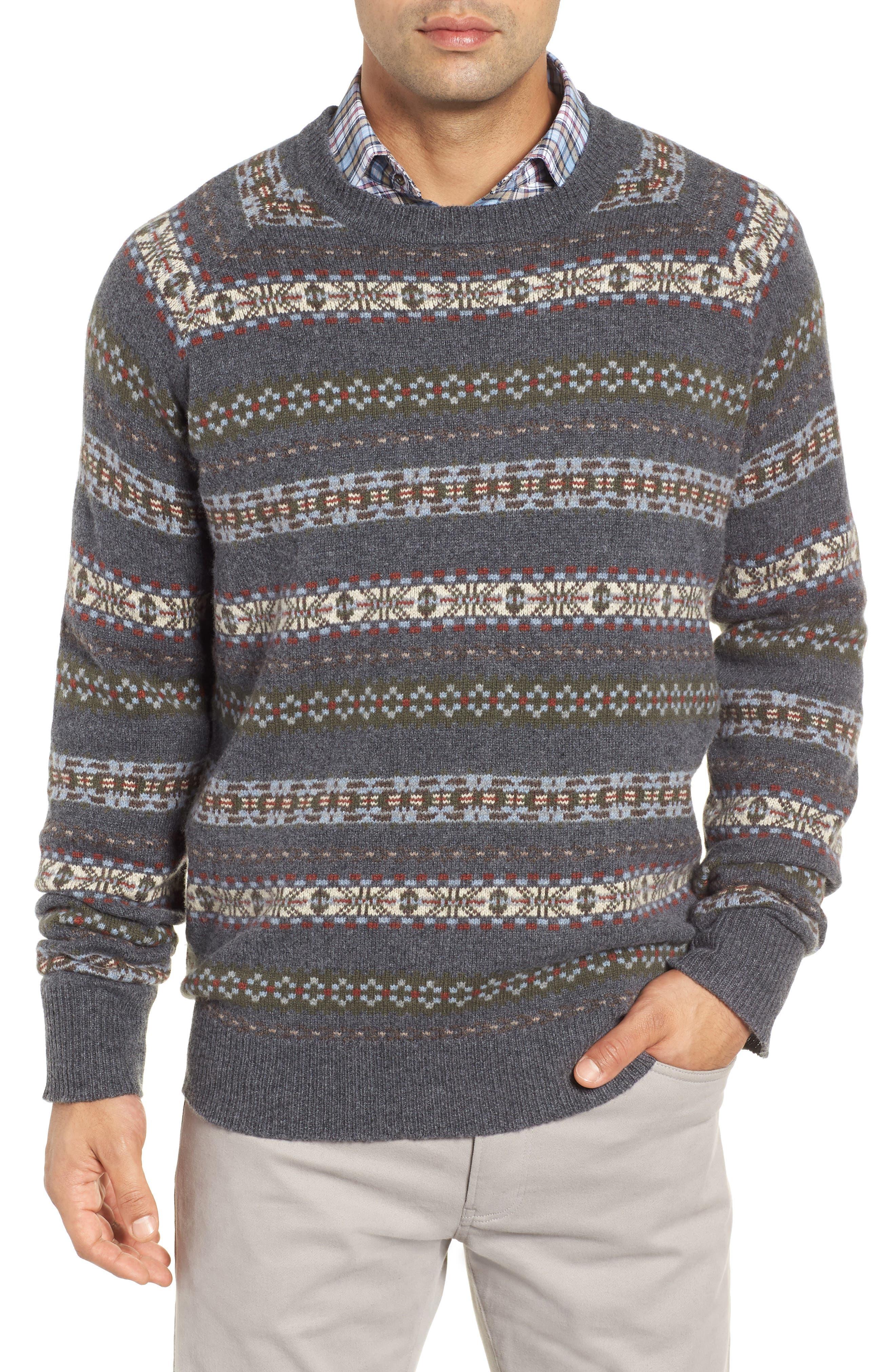 PETER MILLAR Mountainside Fair Isle Crewneck Sweater, Main, color, BLACK