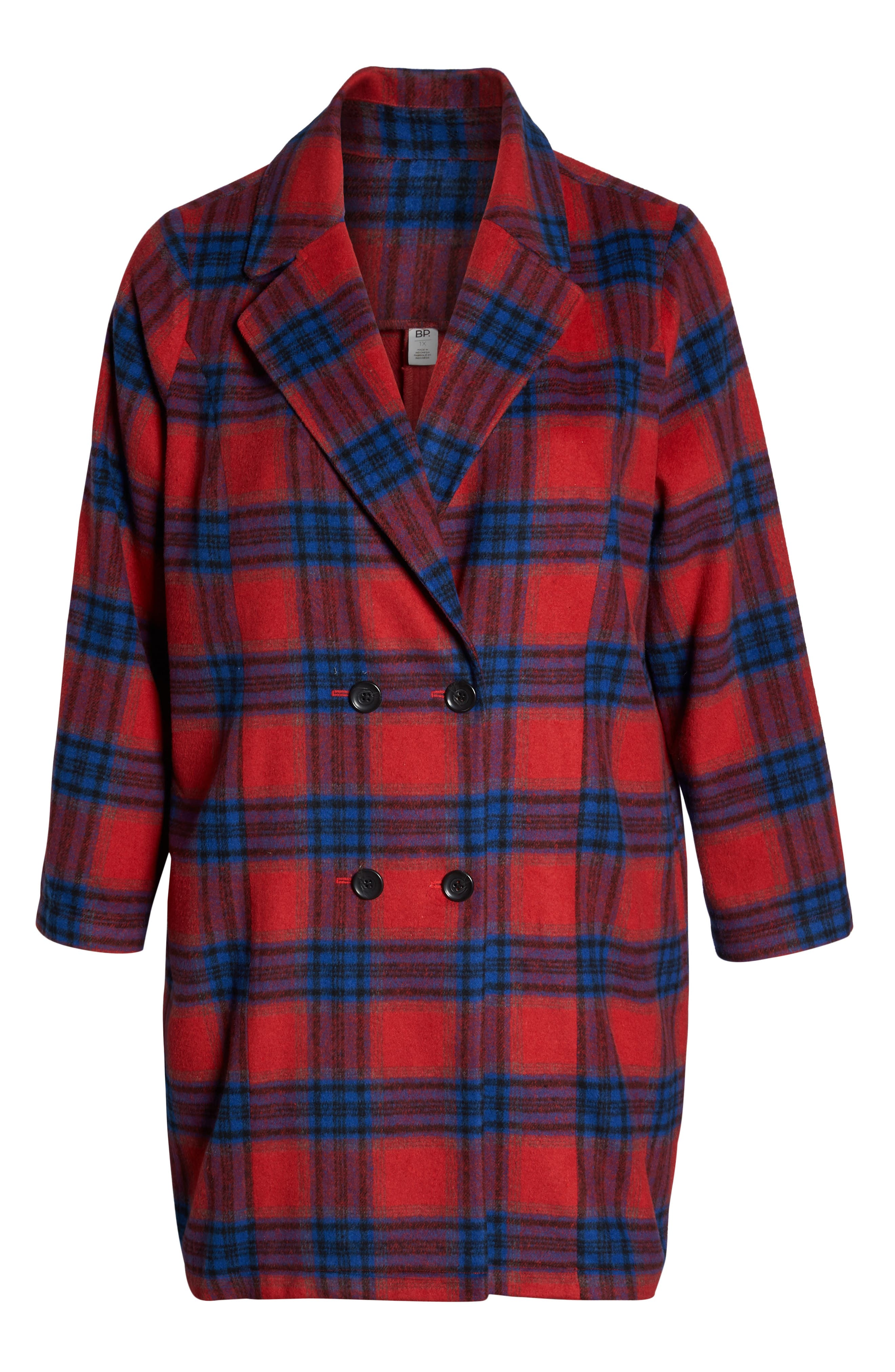 Double Breasted Plaid Jacket,                             Alternate thumbnail 6, color,                             RED CHINOISE RITA PLAID