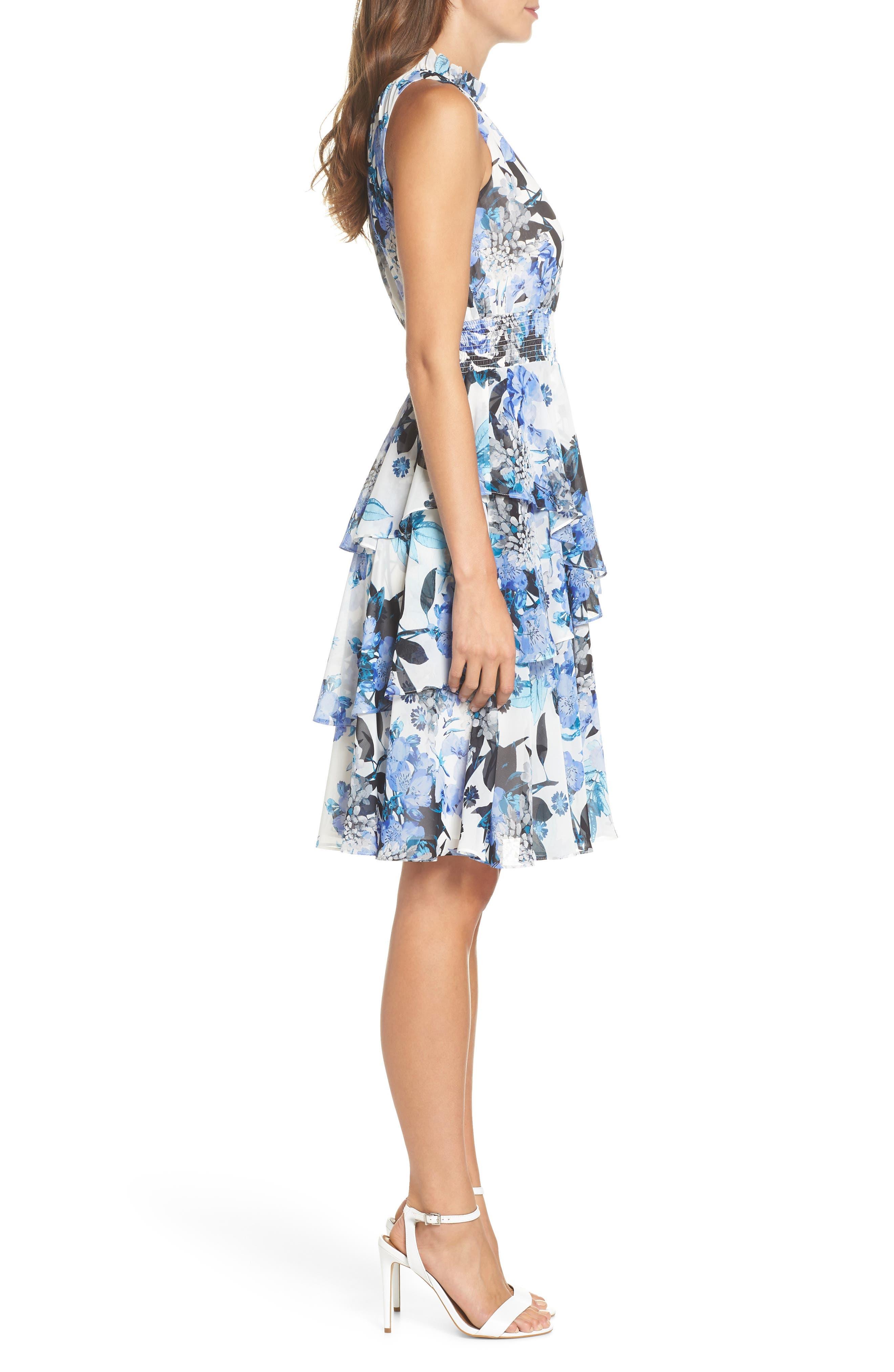 Smocked Waist Ruffle Chiffon Dress,                             Alternate thumbnail 3, color,                             421