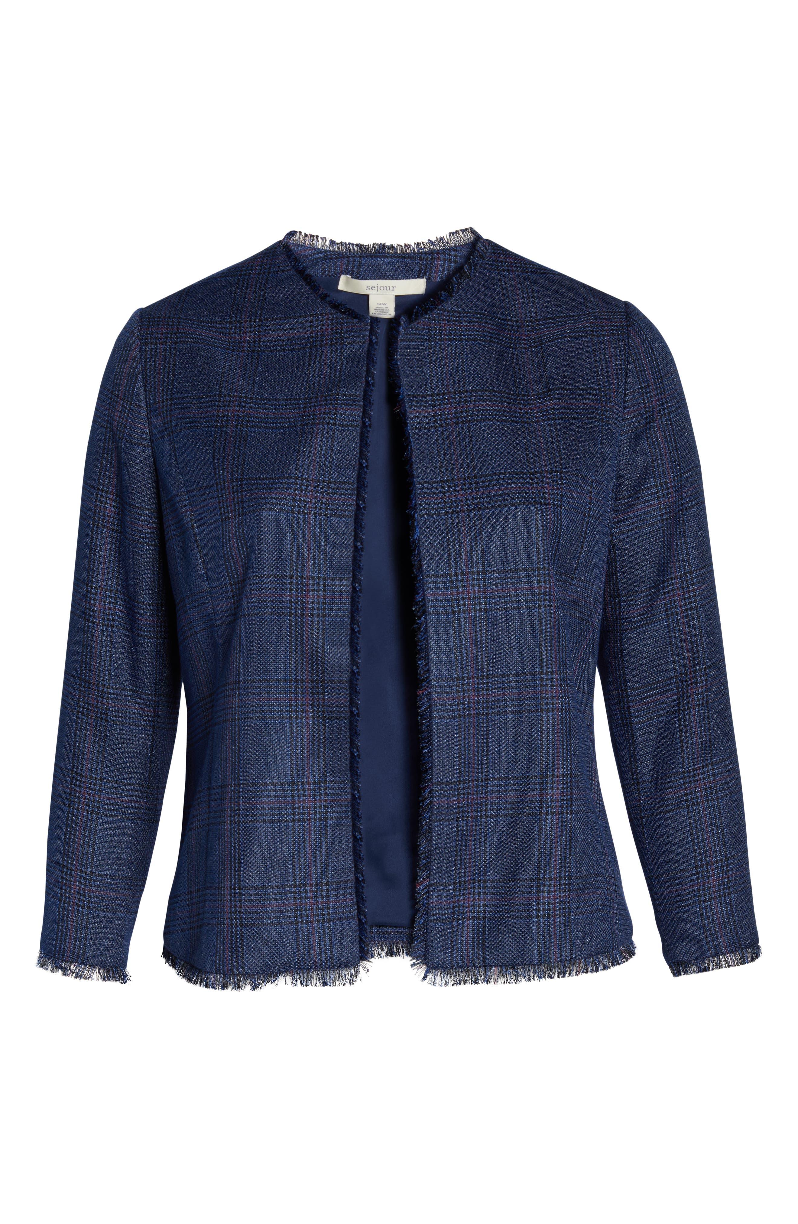 SEJOUR,                             Plaid Tweed Jacket,                             Alternate thumbnail 6, color,                             BLUE SAM PLAID