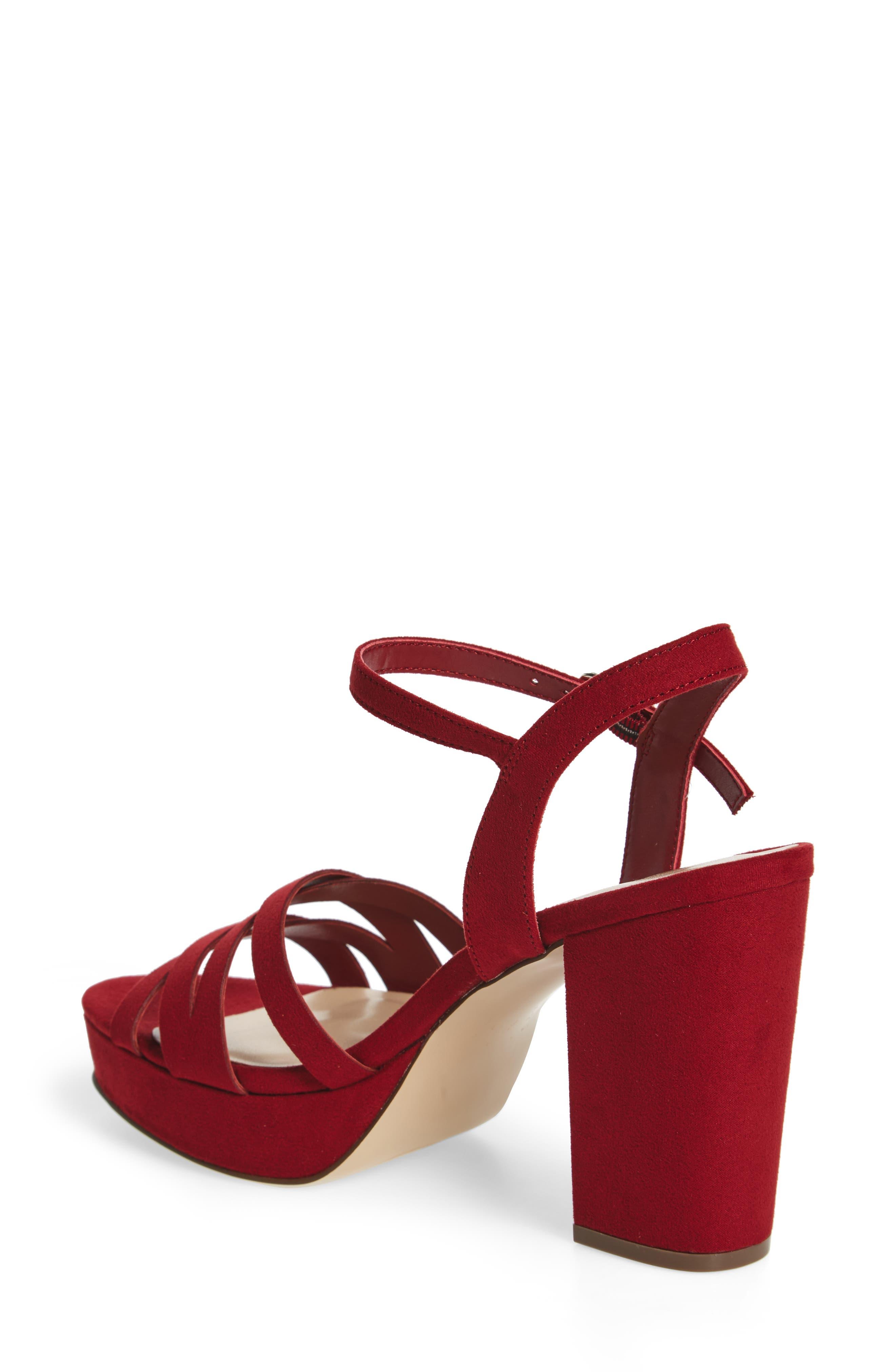 Paxx Platform Sandal,                             Alternate thumbnail 2, color,                             RED FAUX SUEDE
