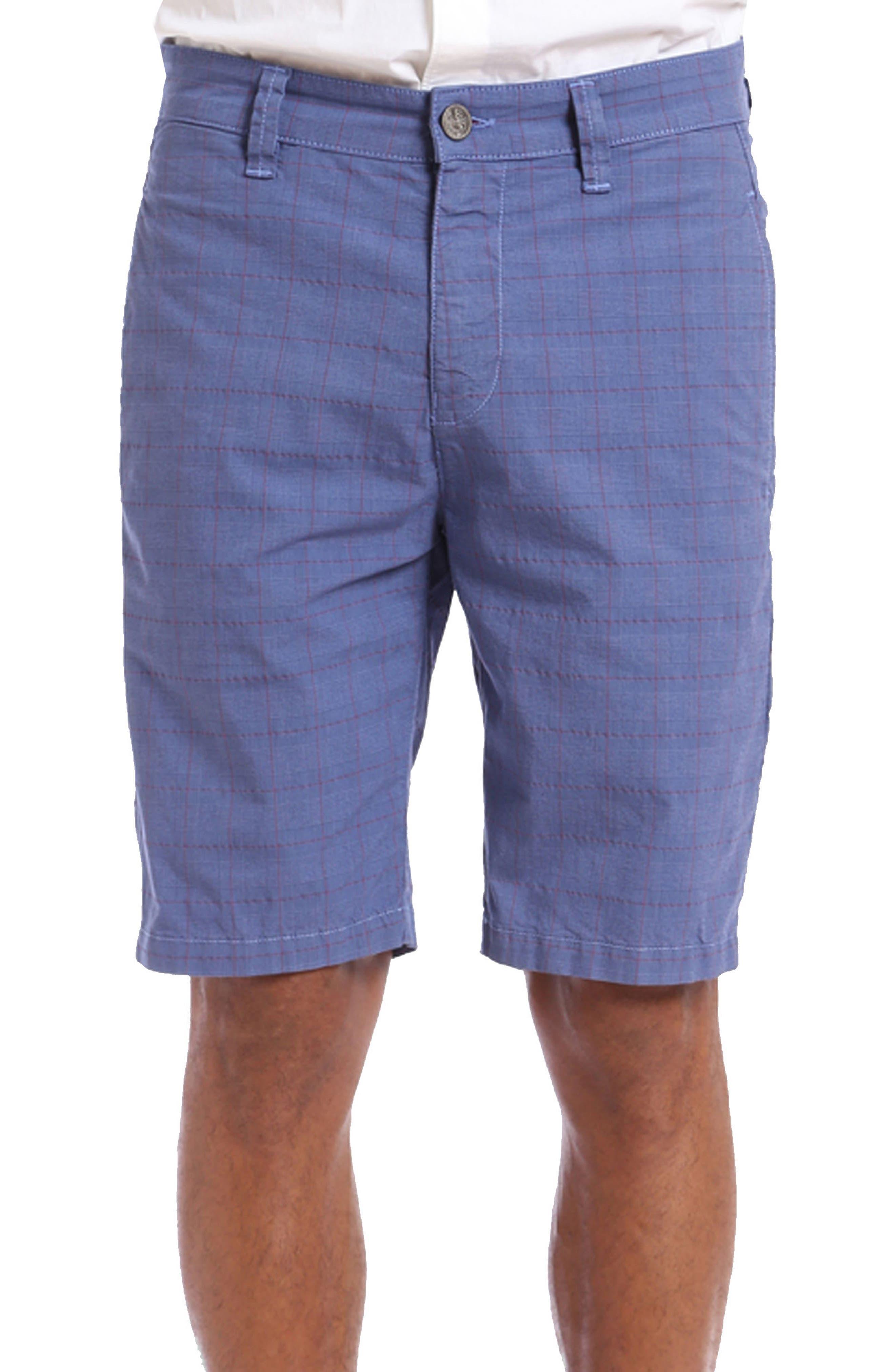 Nevada Twill Shorts,                         Main,                         color, INDIGO PLAID