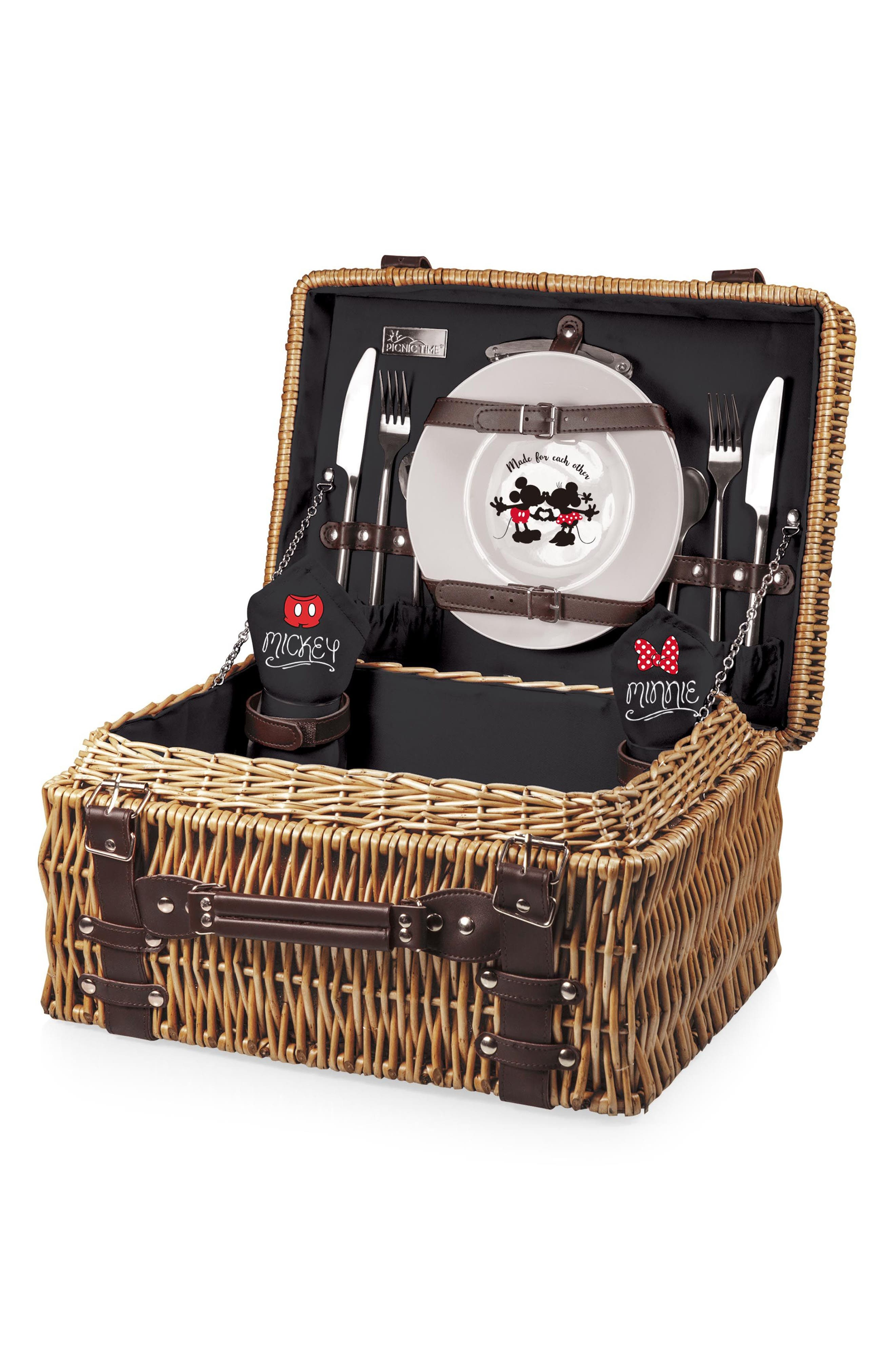 Disney - Mickey & Minnie Mouse Champion Wicker Picnic Basket,                             Alternate thumbnail 3, color,                             001